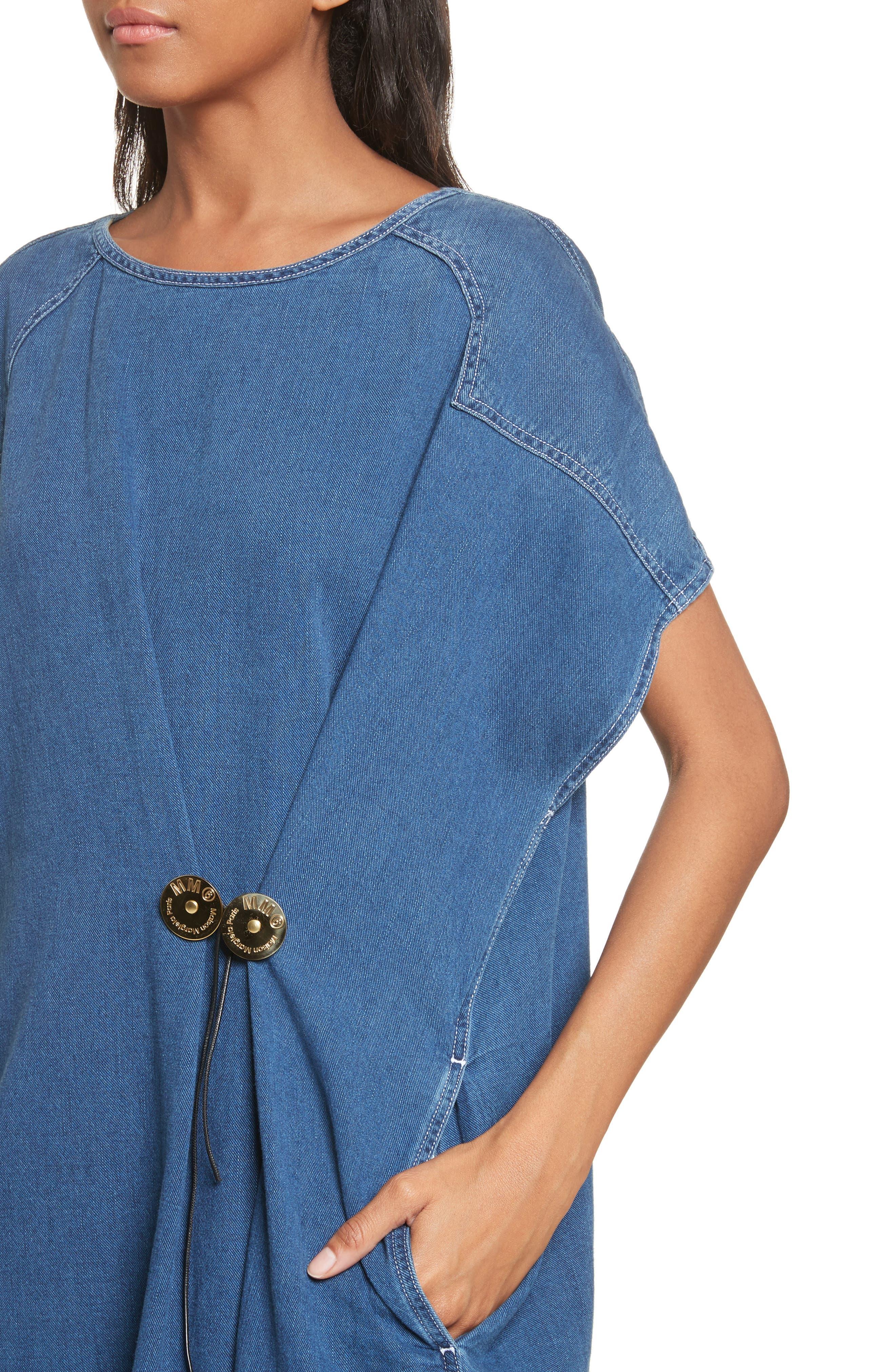 '80s Wash Denim Dress,                             Alternate thumbnail 4, color,                             Medium Blue