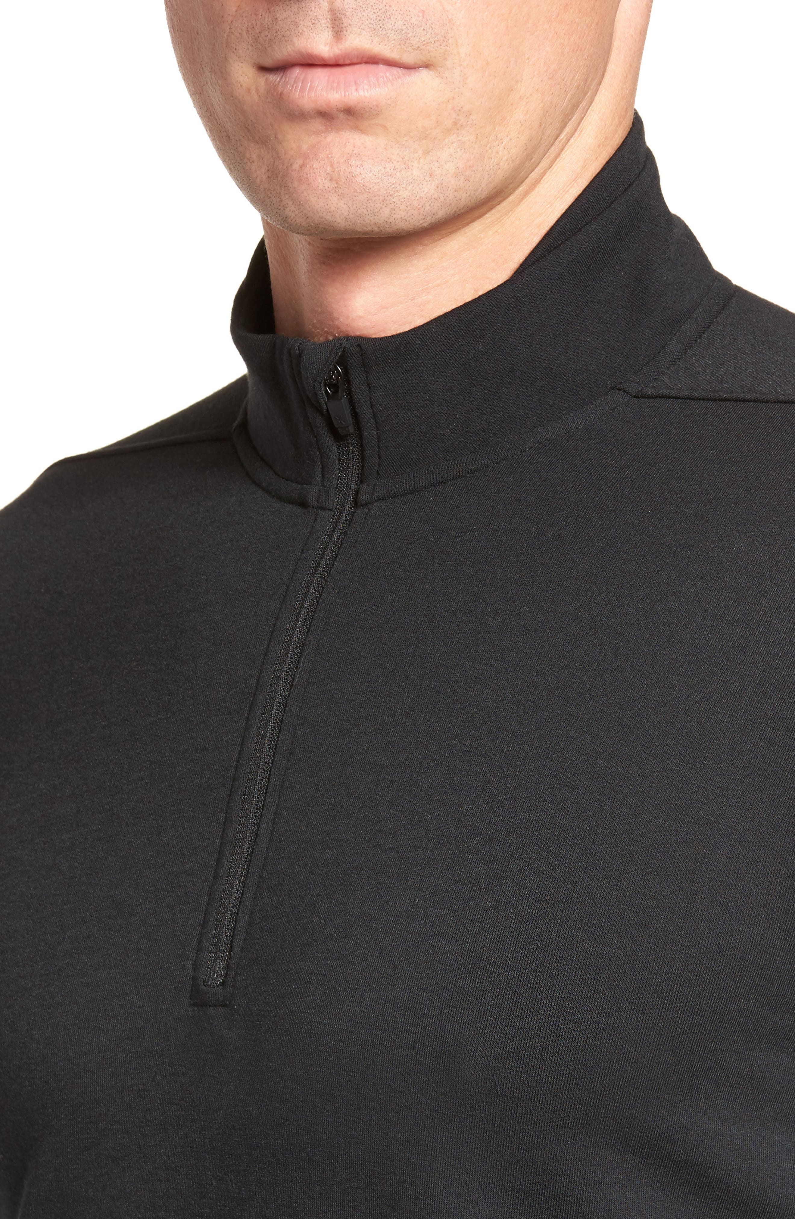 Distance Quarter Zip Pullover,                             Alternate thumbnail 4, color,                             Black