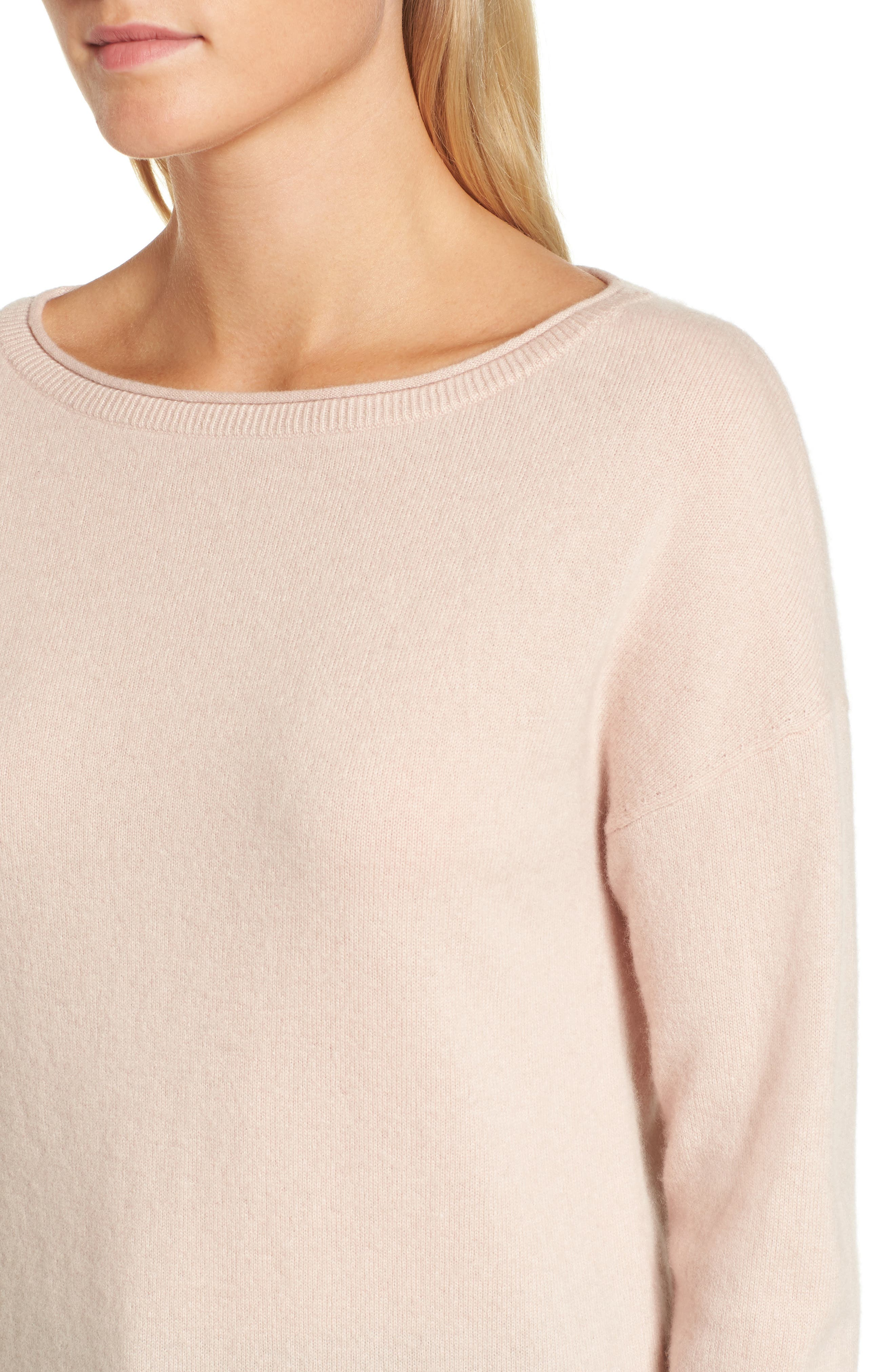 Boiled Cashmere Sweater,                             Alternate thumbnail 4, color,                             Pink Peach