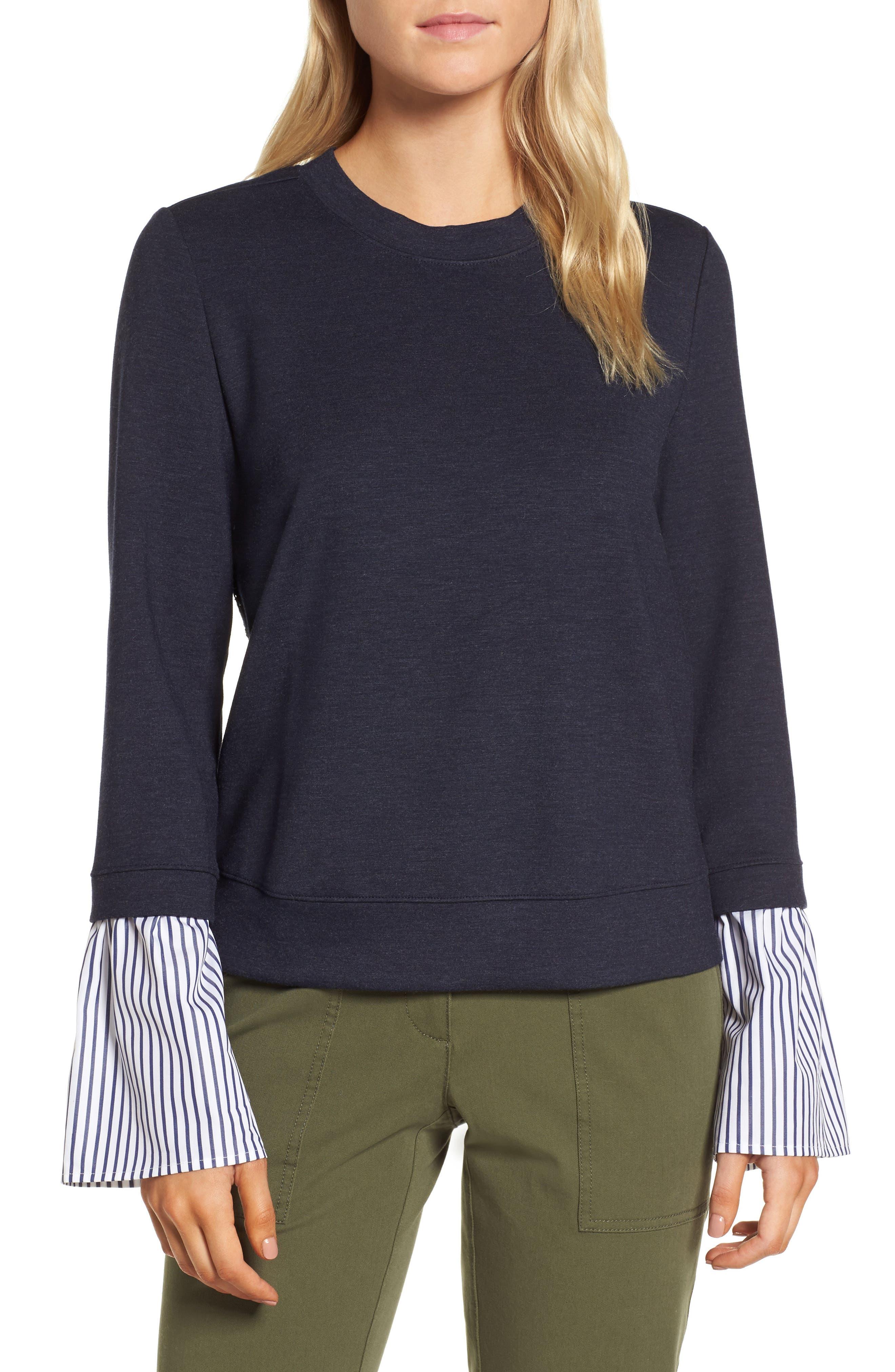 Poplin & Lace Crewneck Sweatshirt,                         Main,                         color, Navy Night