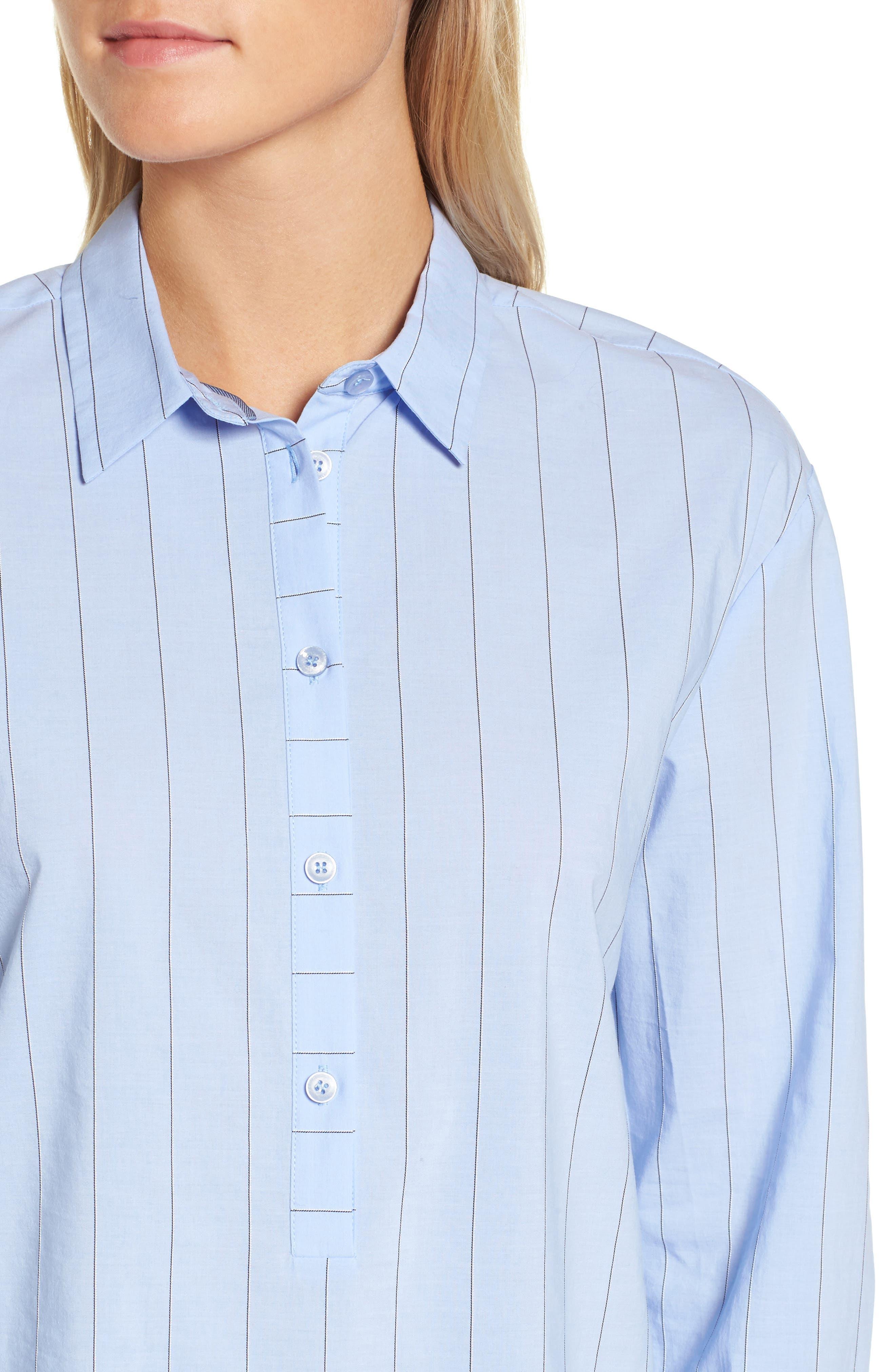 Keyhole Back Stripe Tunic Shirt,                             Alternate thumbnail 4, color,                             Blue Oxford Micro Stripe