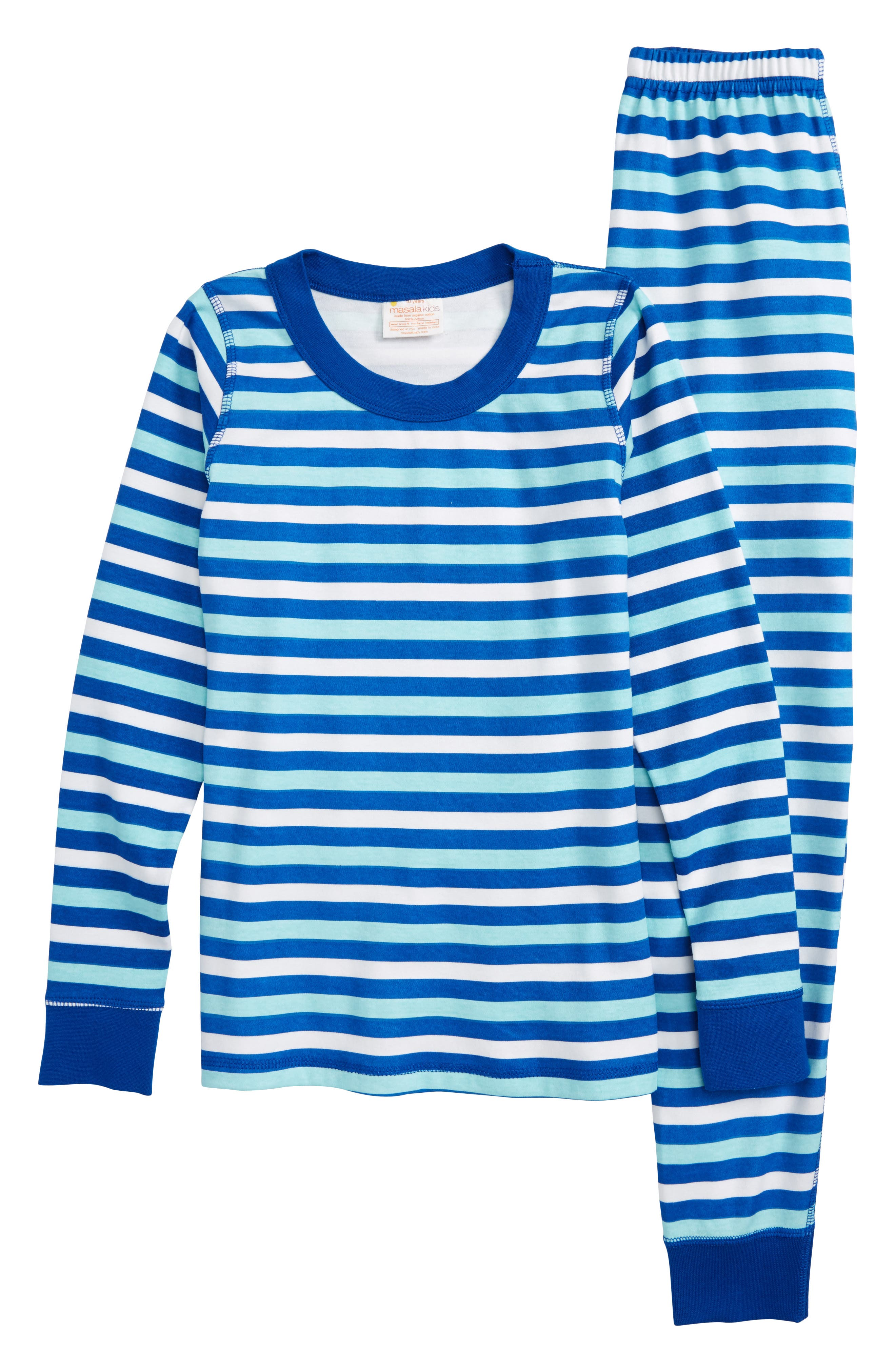 Stripe Organic Cotton Fitted Two-Piece Pajamas,                             Main thumbnail 1, color,                             Blue