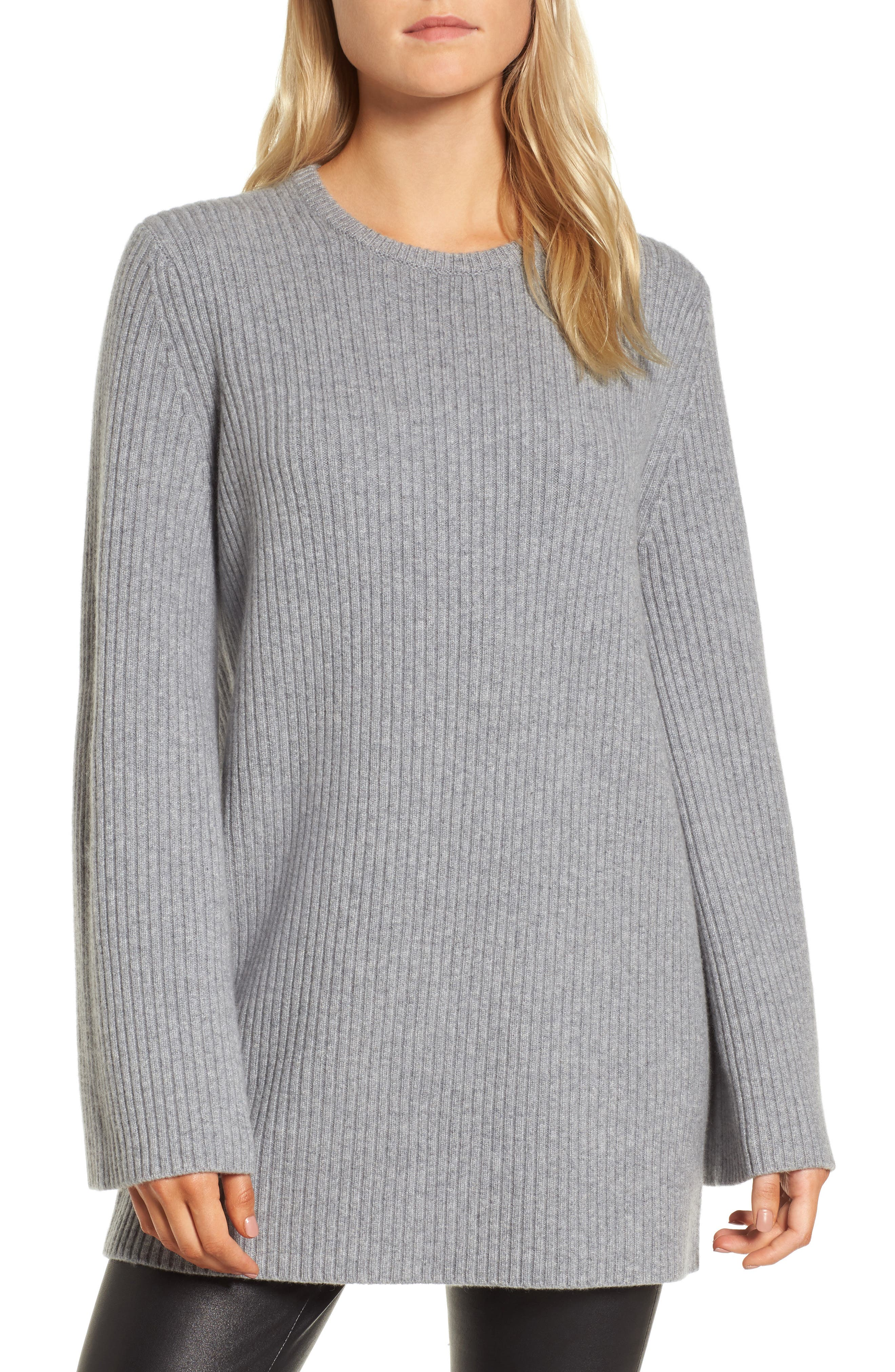 Tie Back Cashmere Blend Sweater,                             Main thumbnail 1, color,                             Grey Filigree Heather