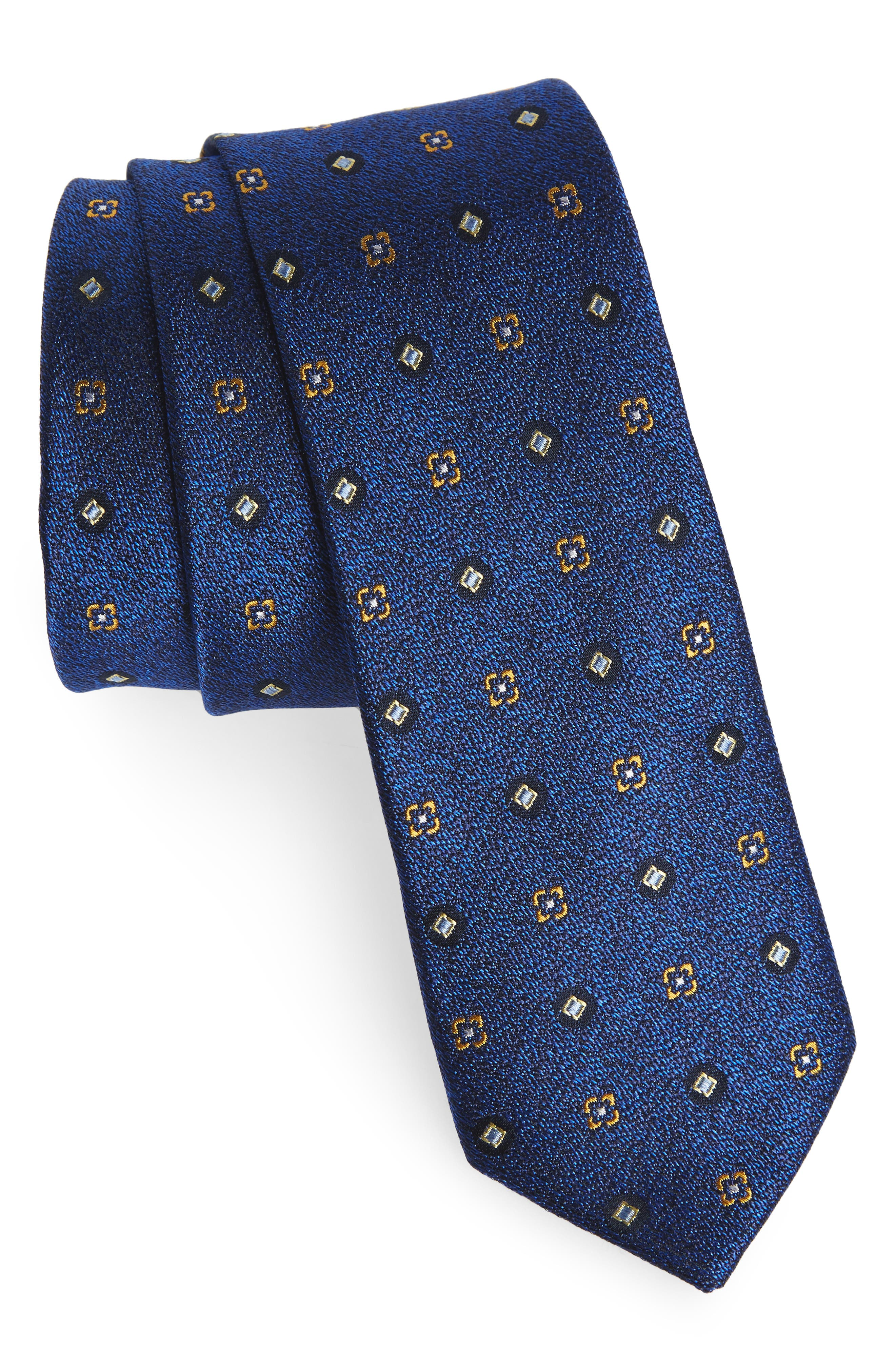 Neat Medallion Silk Tie,                         Main,                         color, Royal
