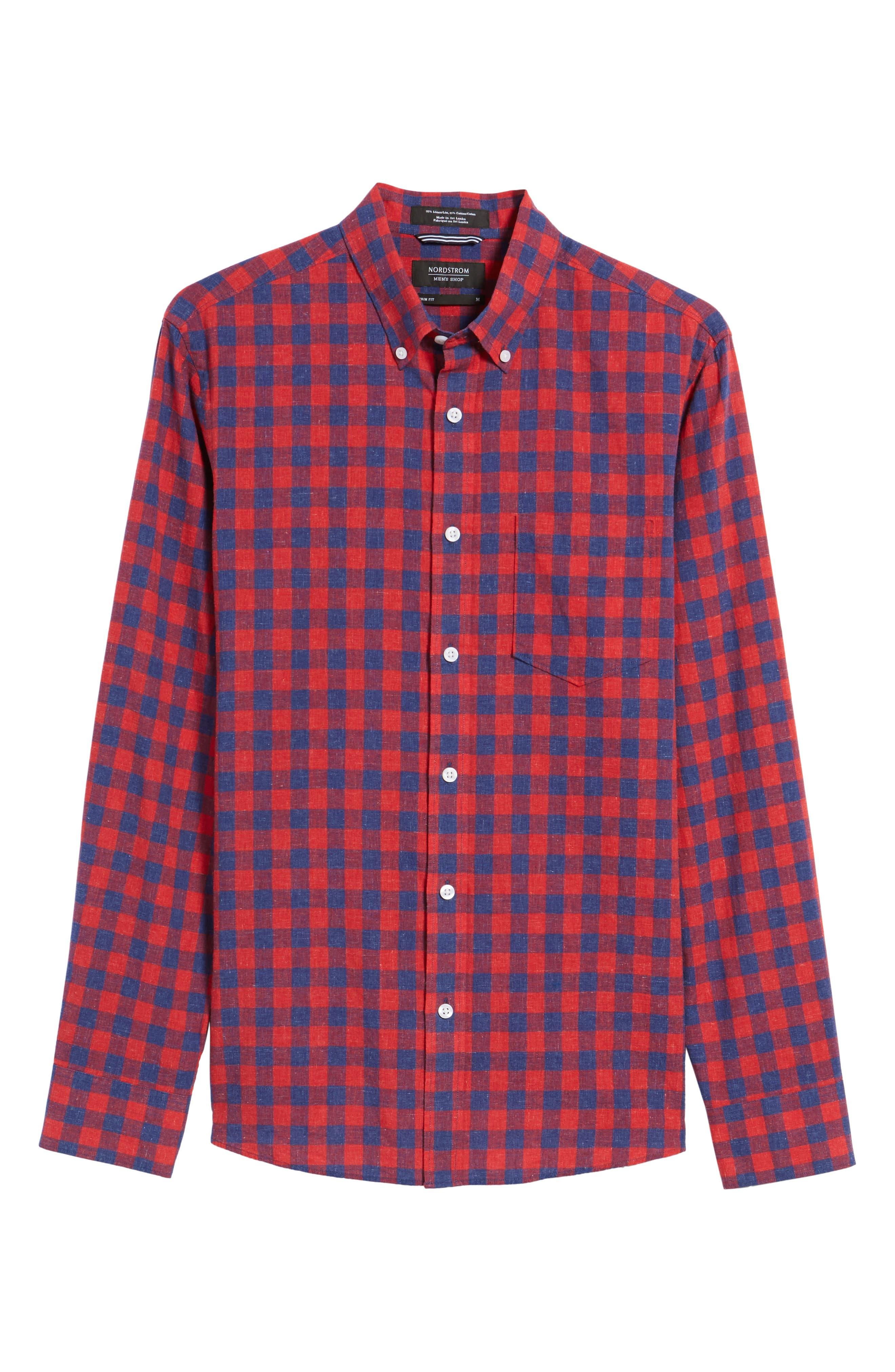 Spade Trim Fit Check Sport Shirt,                             Alternate thumbnail 6, color,                             Red Chili Blue Check