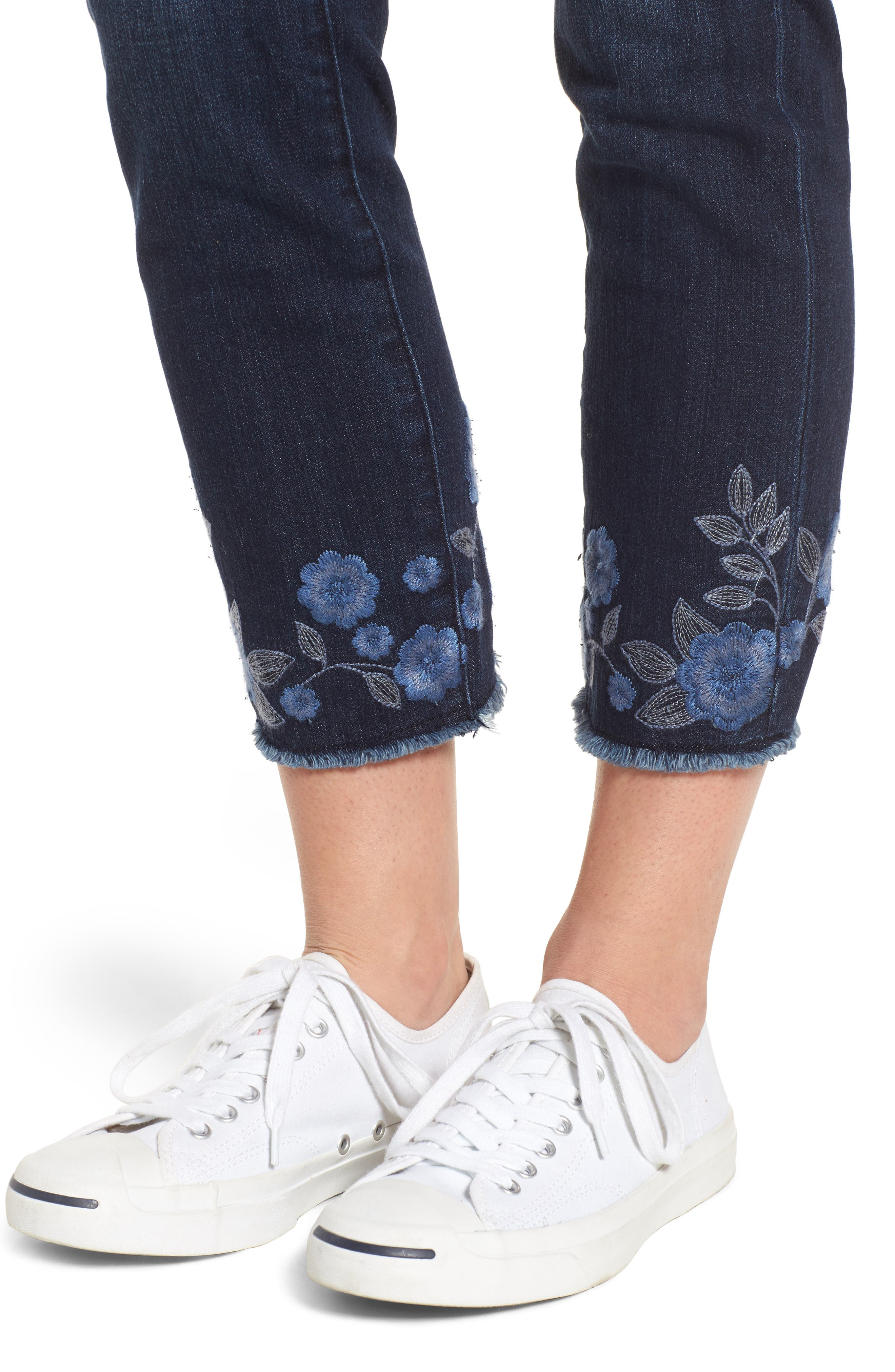 Amelia Embroidered Slim Ankle Jeans,                             Alternate thumbnail 4, color,                             Meteor Wash