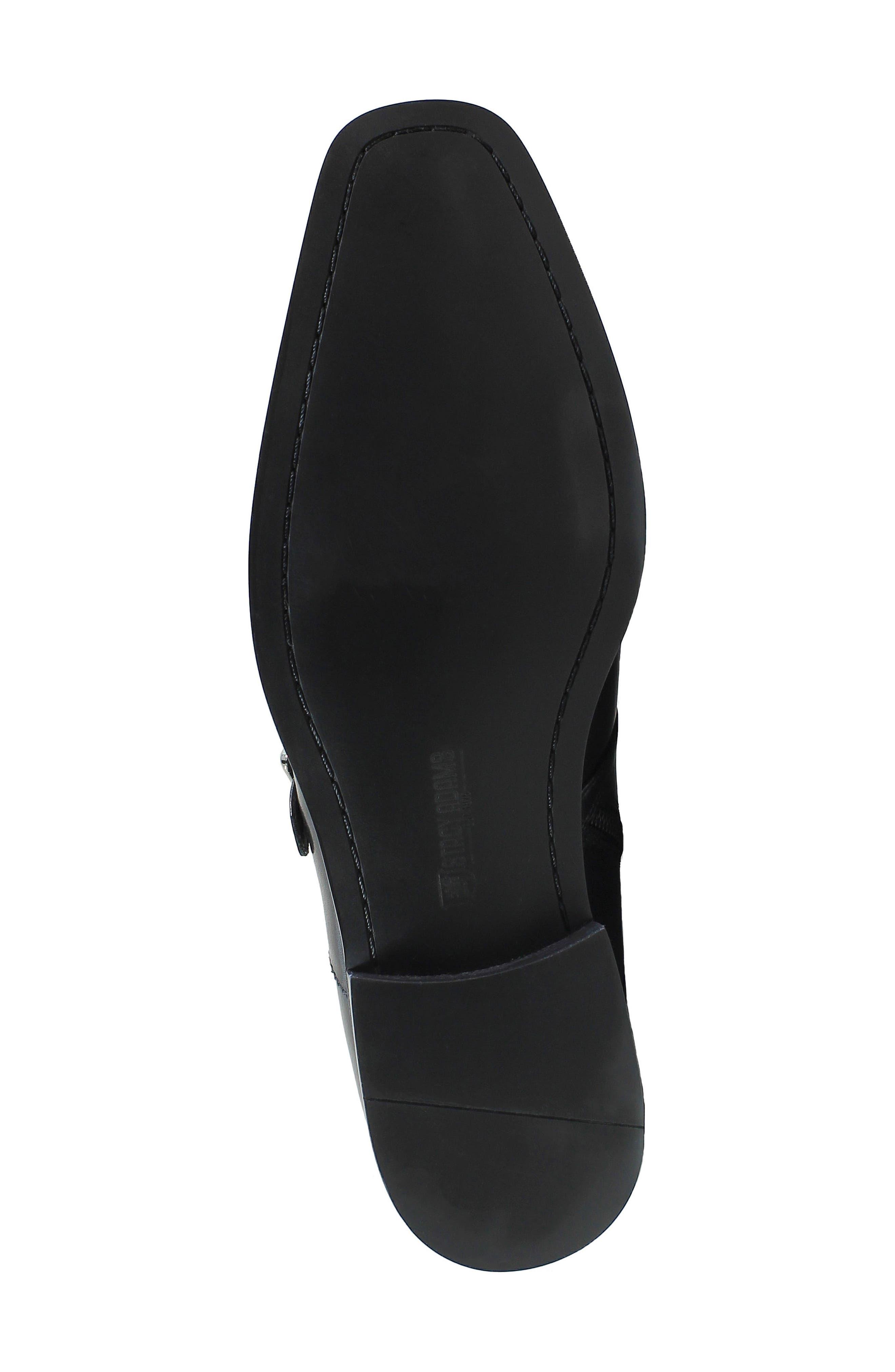 Kason Double Monk Strap Boot,                             Alternate thumbnail 6, color,                             Black Leather