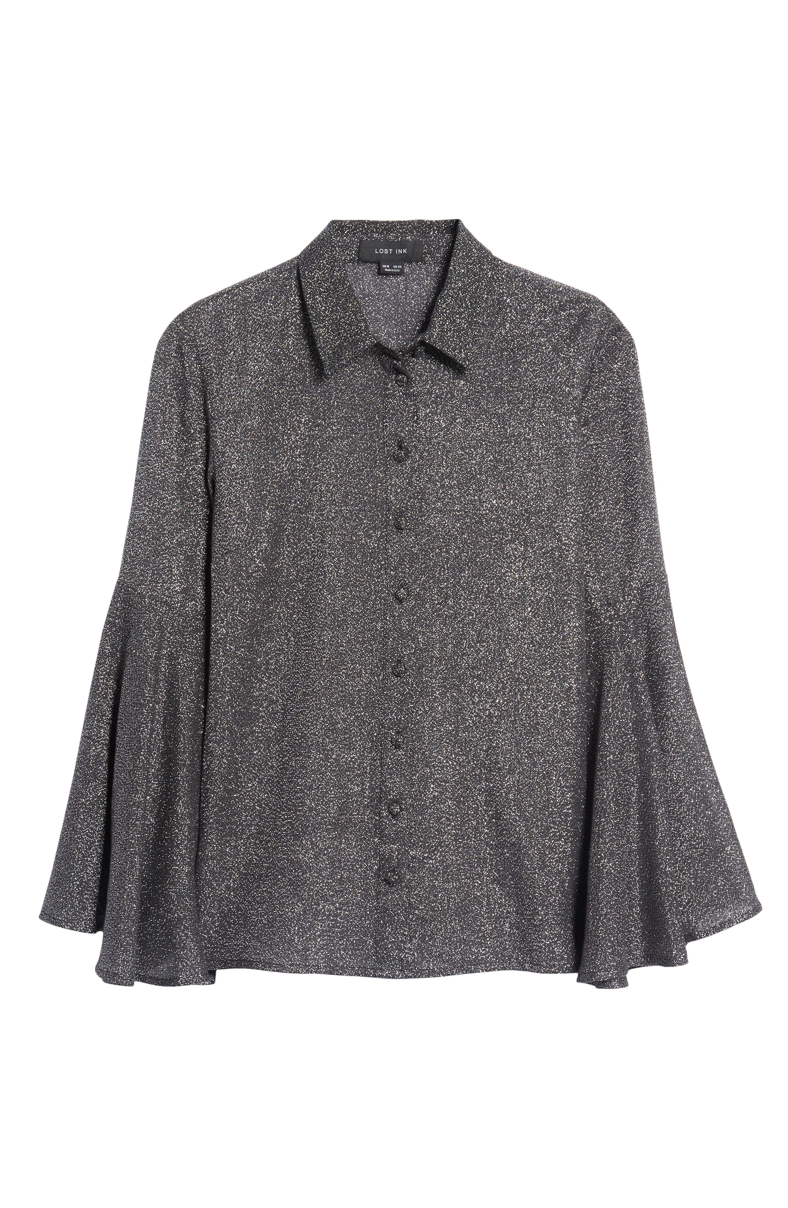 Alternate Image 7  - LOST INK Sparkly Bell Sleeve Shirt