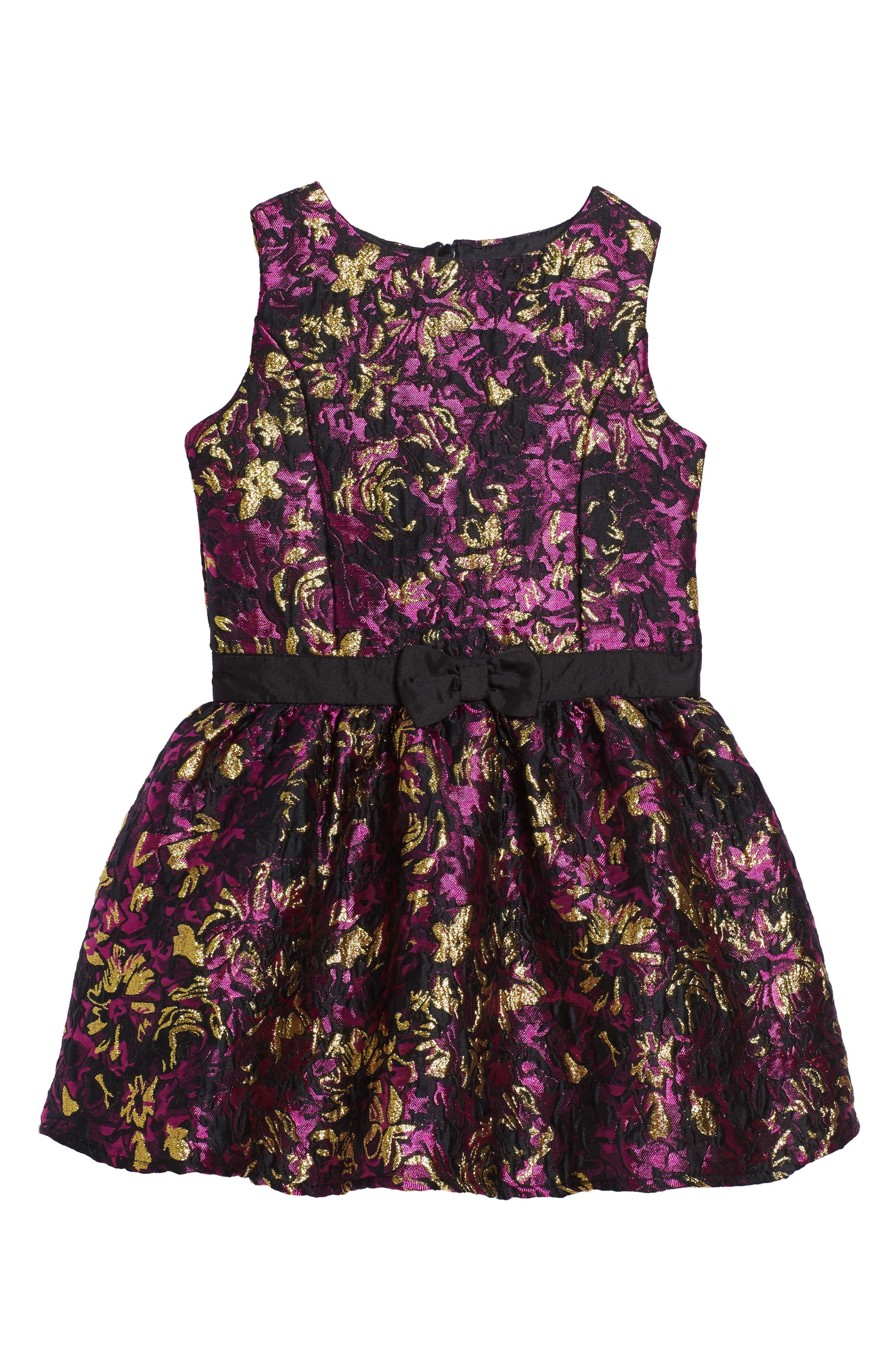 Floral Brocade Dress,                         Main,                         color, Fuschia