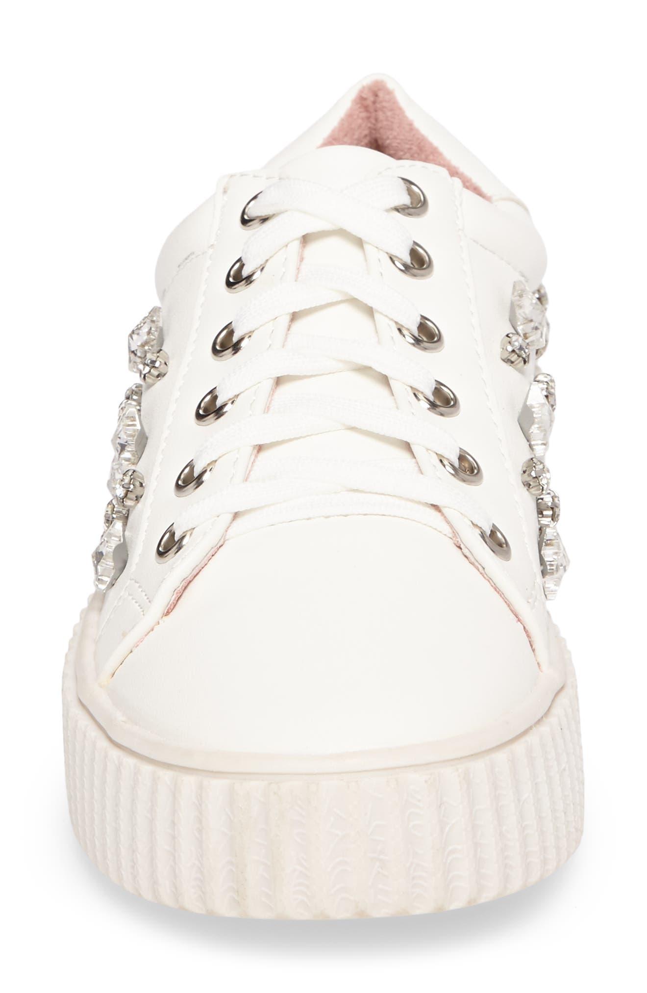 Pam Embellished Platform Sneaker,                             Alternate thumbnail 4, color,                             White