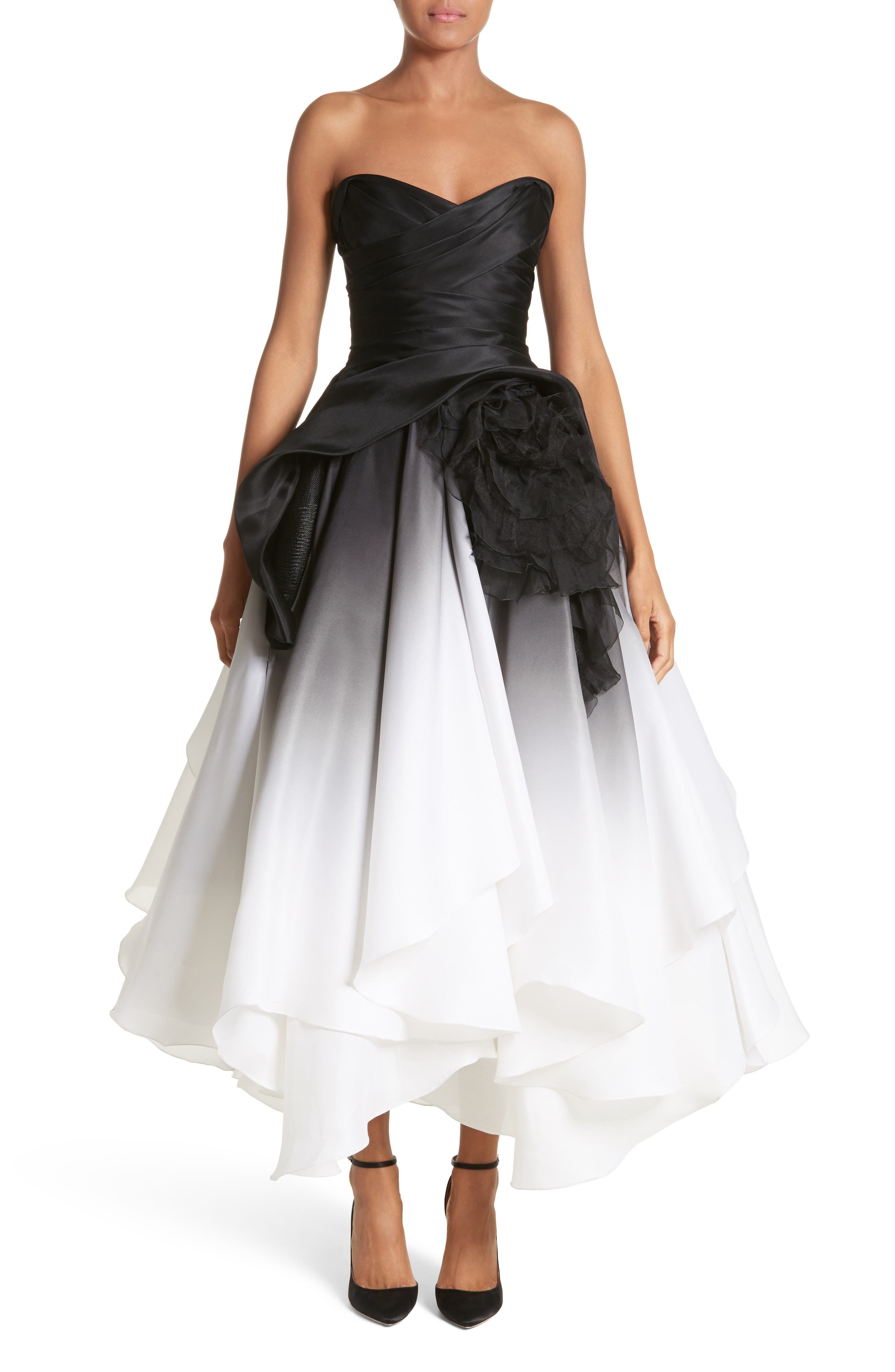 Ombré Strapless Tea Length Dress,                             Main thumbnail 1, color,                             Black/ White