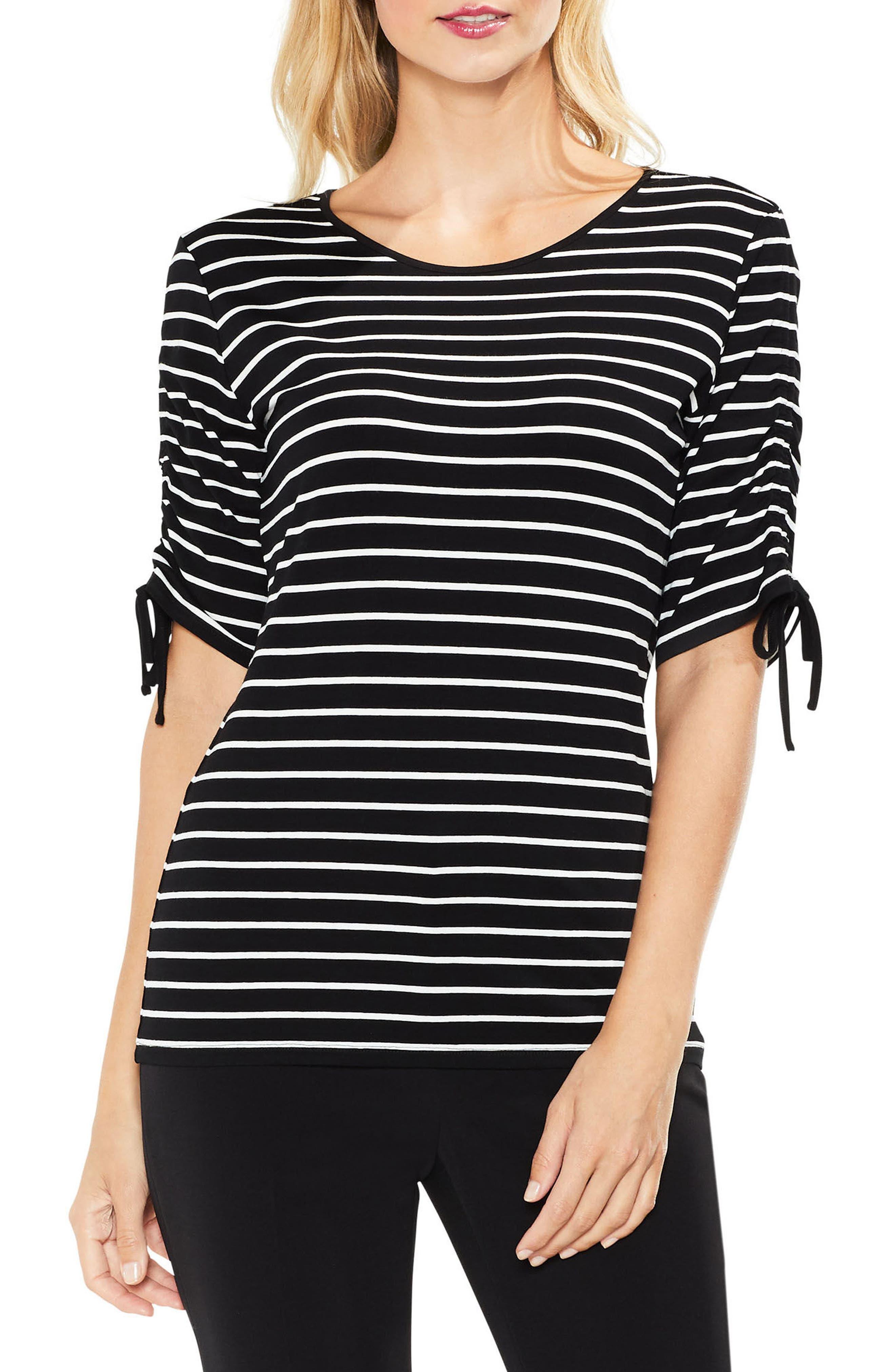 Drawstring Sleeve Stripe Top,                         Main,                         color, Rich Black