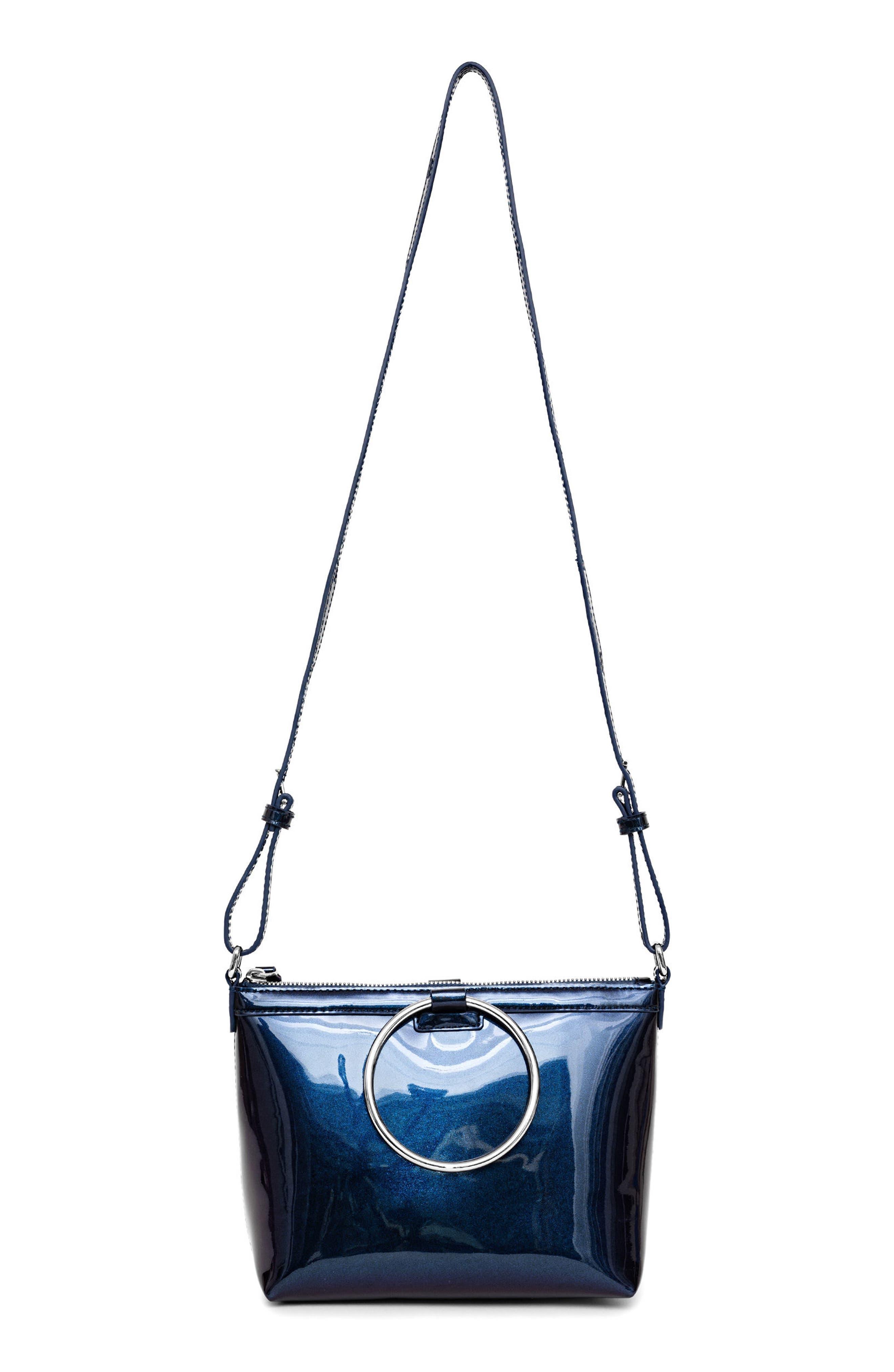 Iridescent Ring Crossbody Bag,                             Main thumbnail 1, color,                             Galaxy Navy