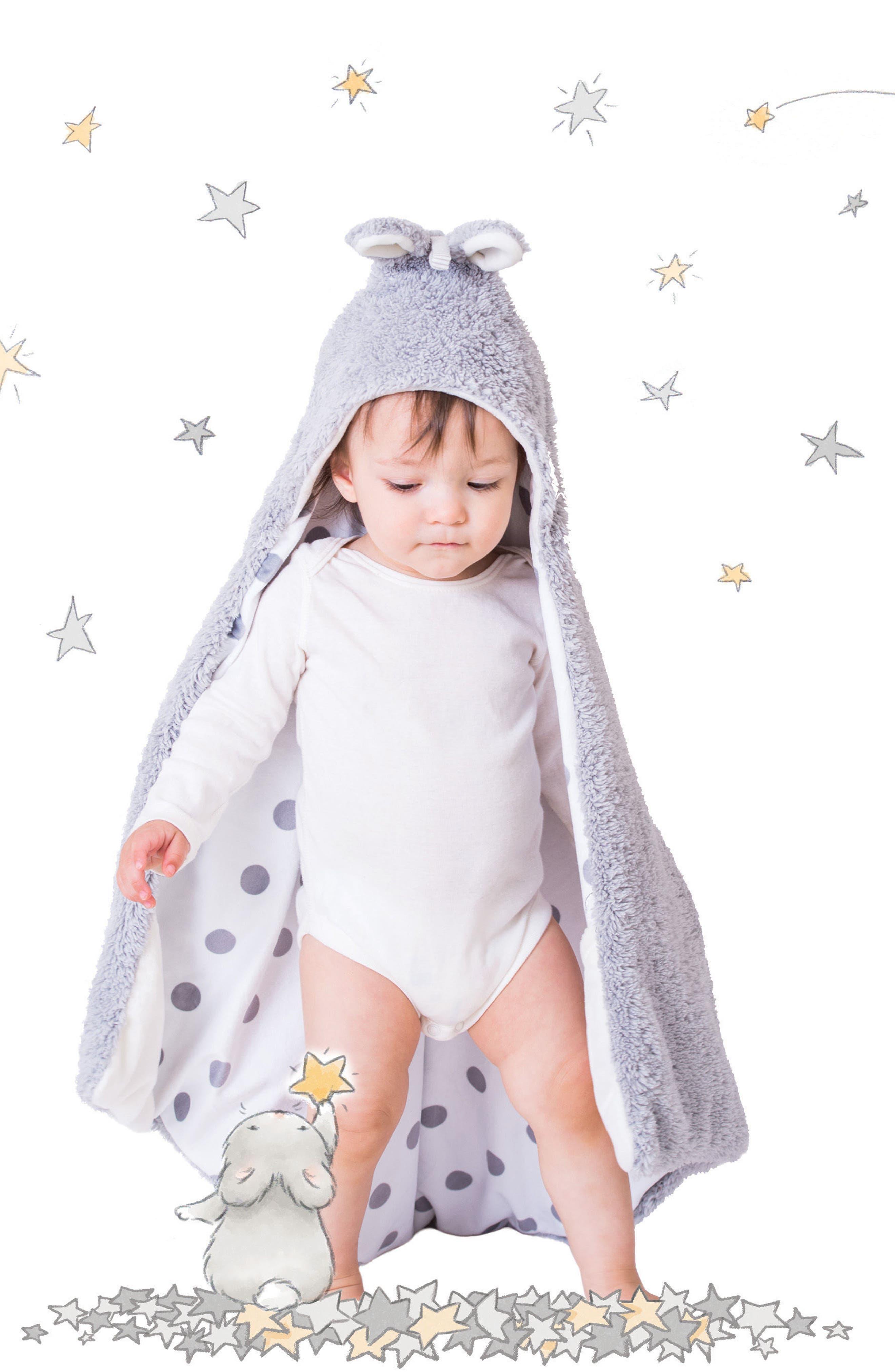 Bunny Hooded Blanket,                             Alternate thumbnail 3, color,                             Grady Grey