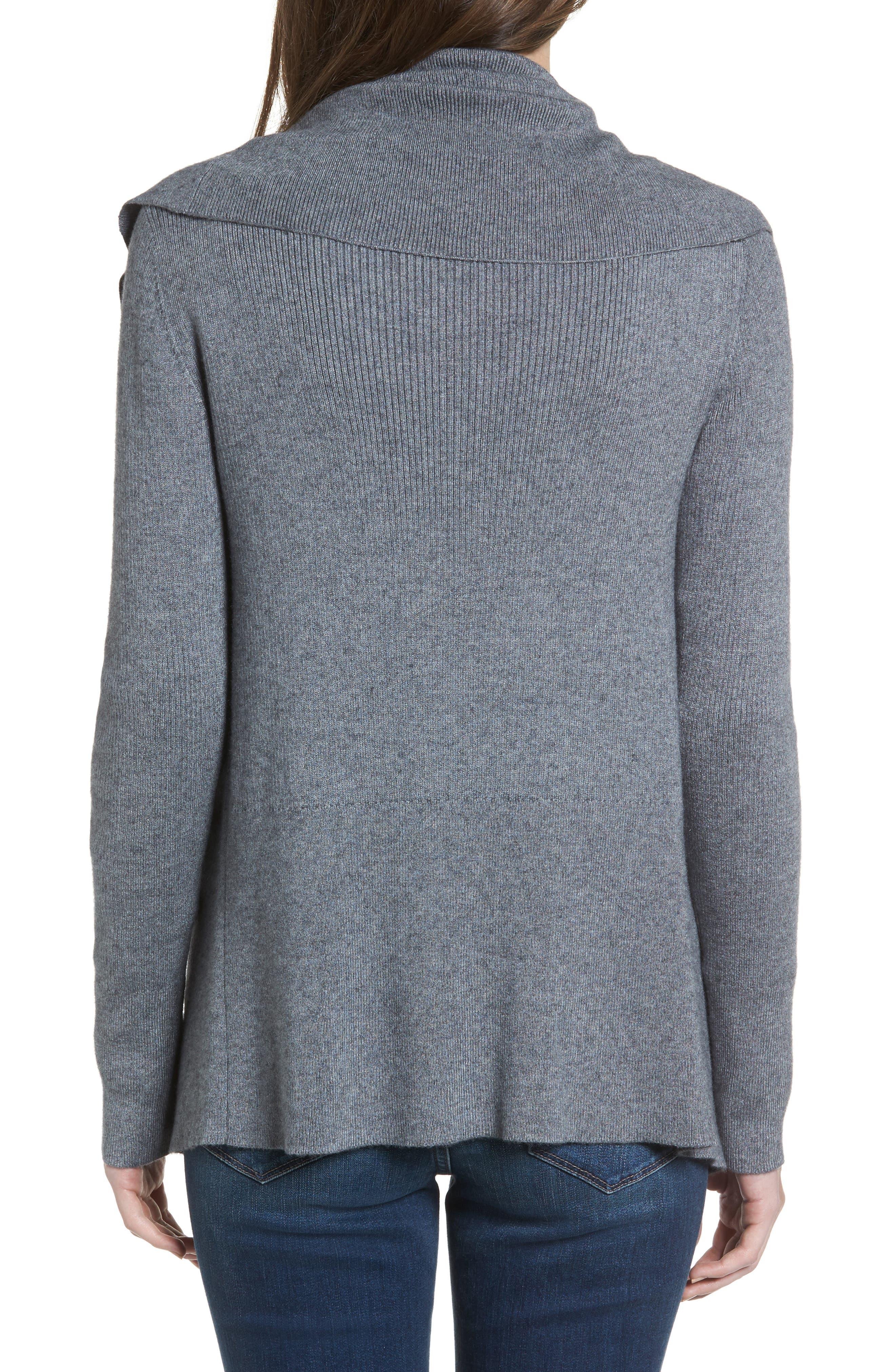 Wide Collar Zip Sweater,                             Alternate thumbnail 2, color,                             Grey Dark Heather