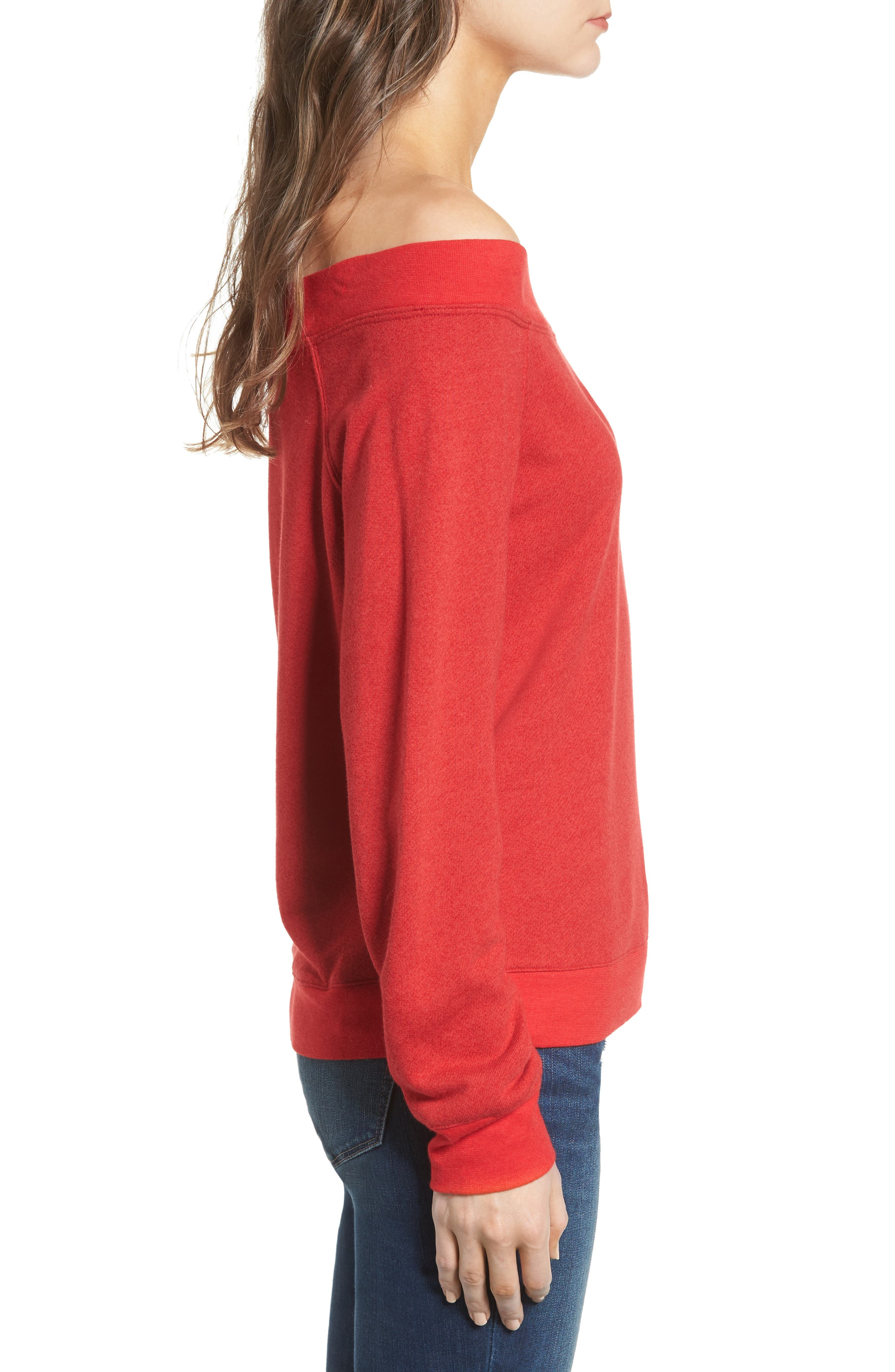 Off the Shoulder Sweatshirt,                             Alternate thumbnail 3, color,                             Red Barbados