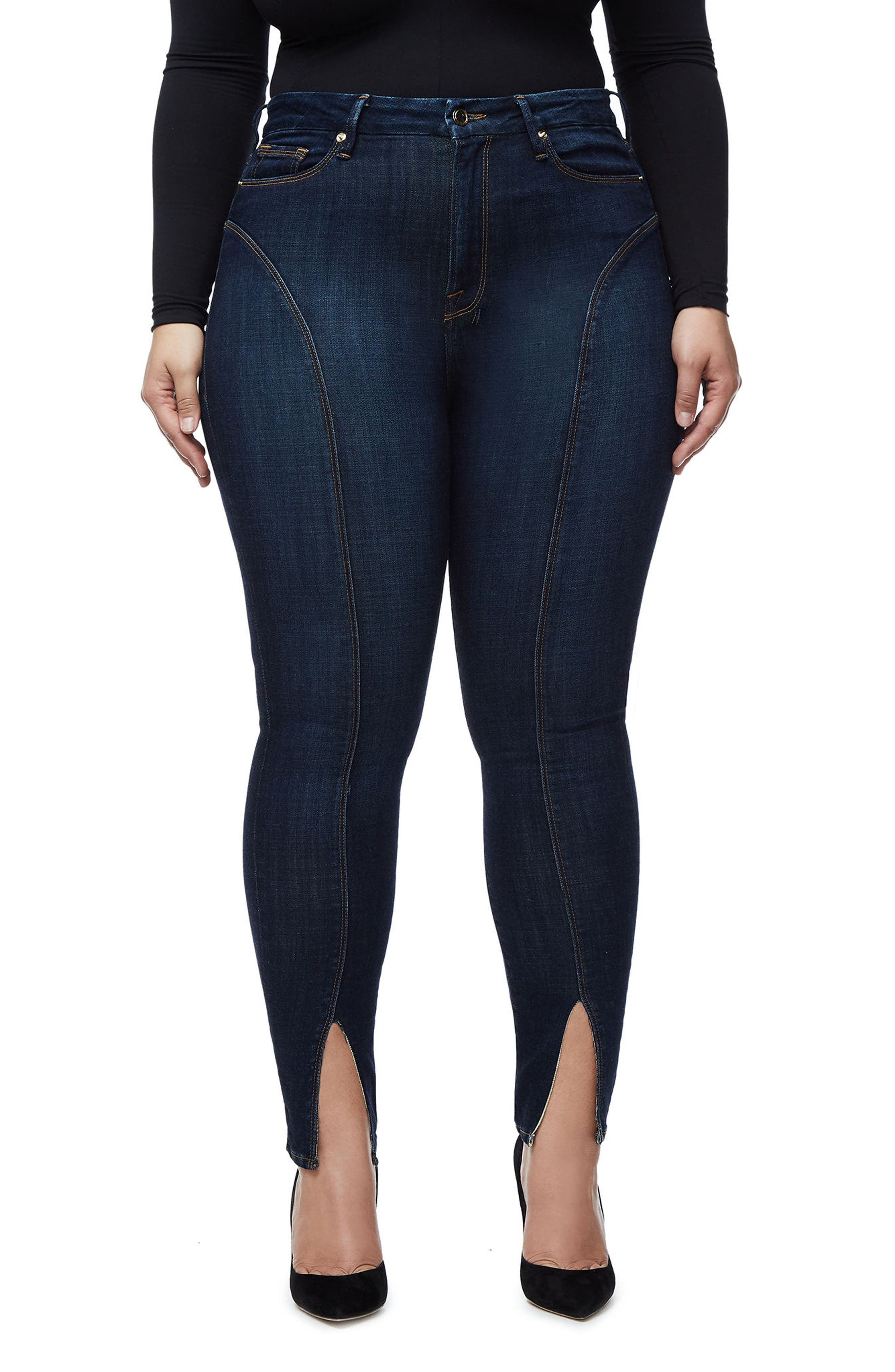 Alternate Image 4  - Good American Good Legs Crop Skinny Jeans (Blue 025) (Regular & Plus Size)