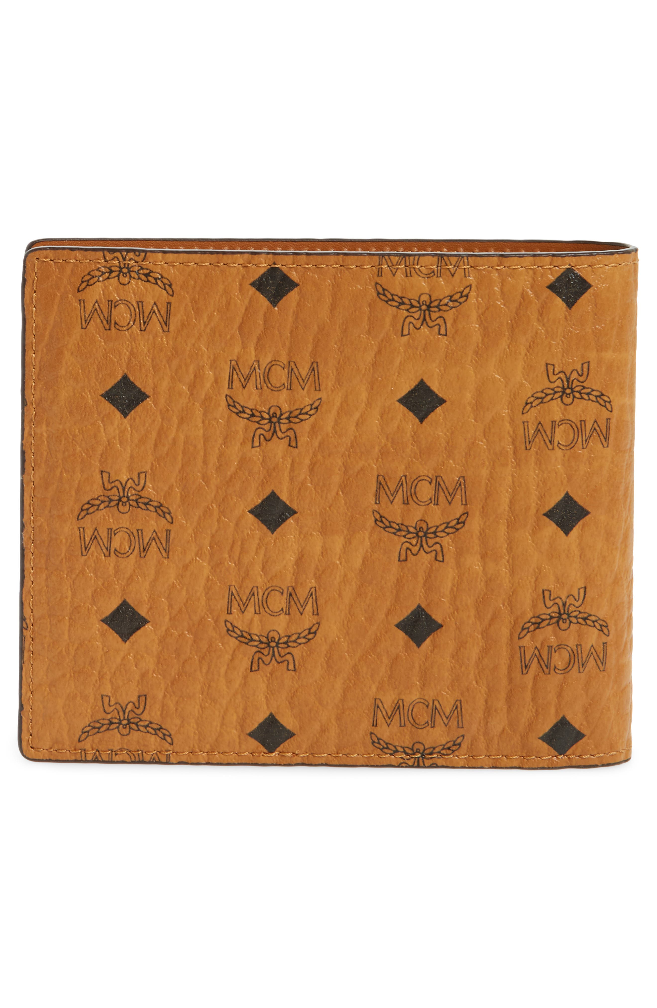 Logo Coated Canvas & Leather Wallet,                             Alternate thumbnail 3, color,                             Cognac