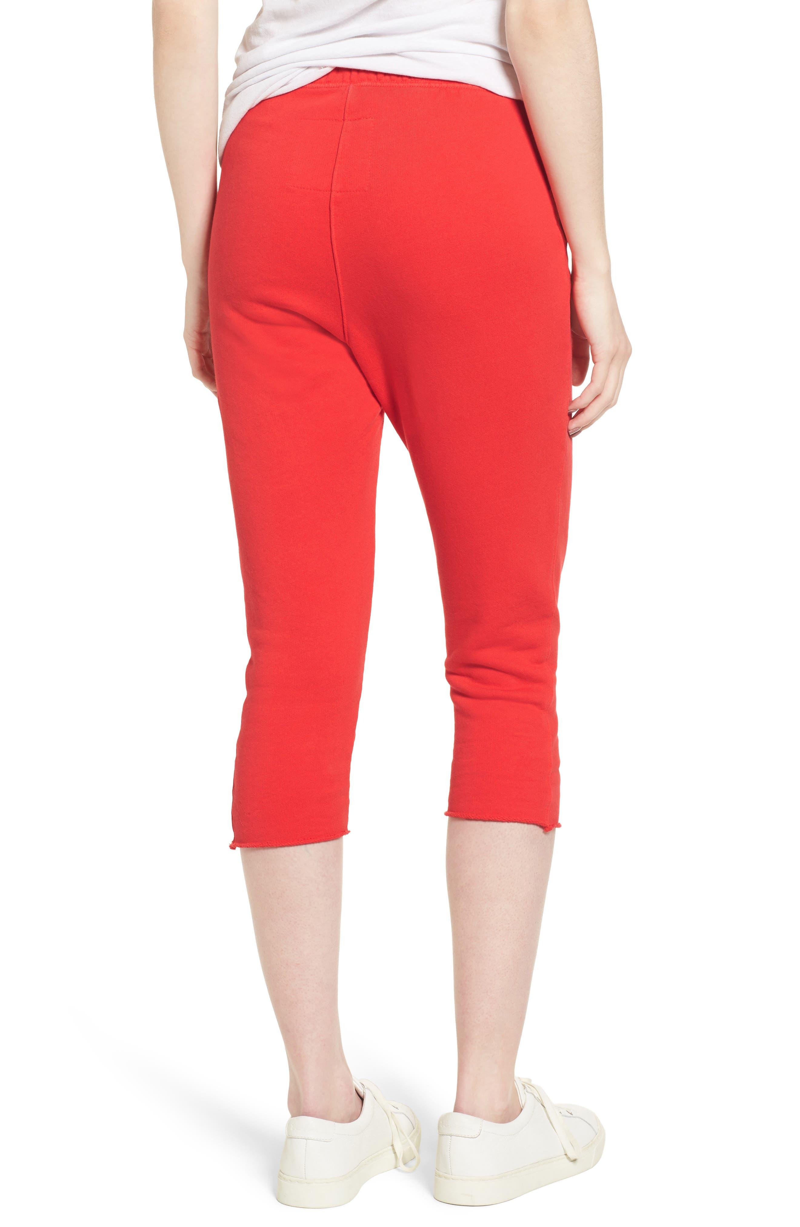 Raw Hem Crop Sweatpants,                             Alternate thumbnail 3, color,                             Flash