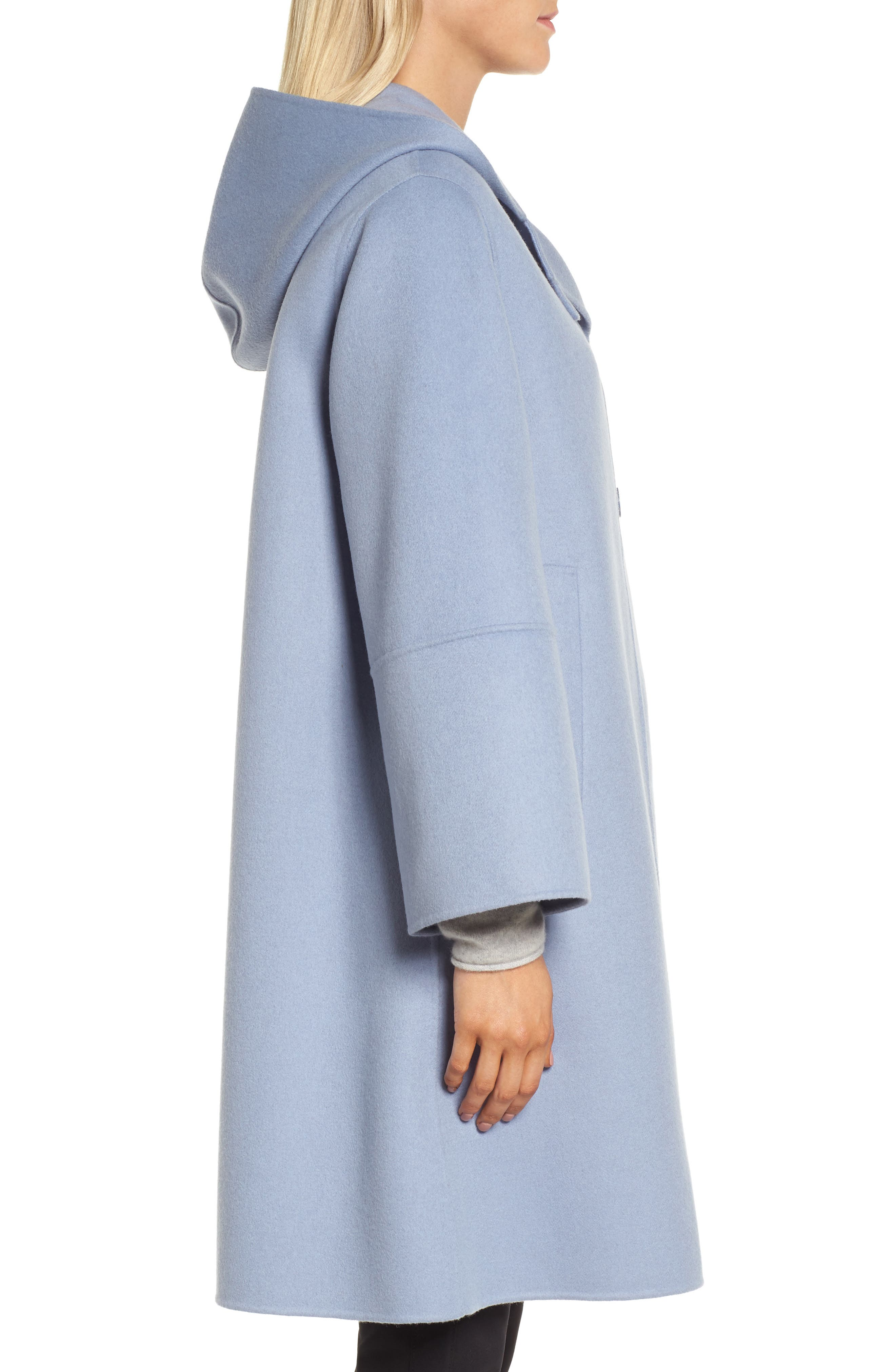 Hooded Wool & Cashmere Coat,                             Alternate thumbnail 3, color,                             Blue Tempest