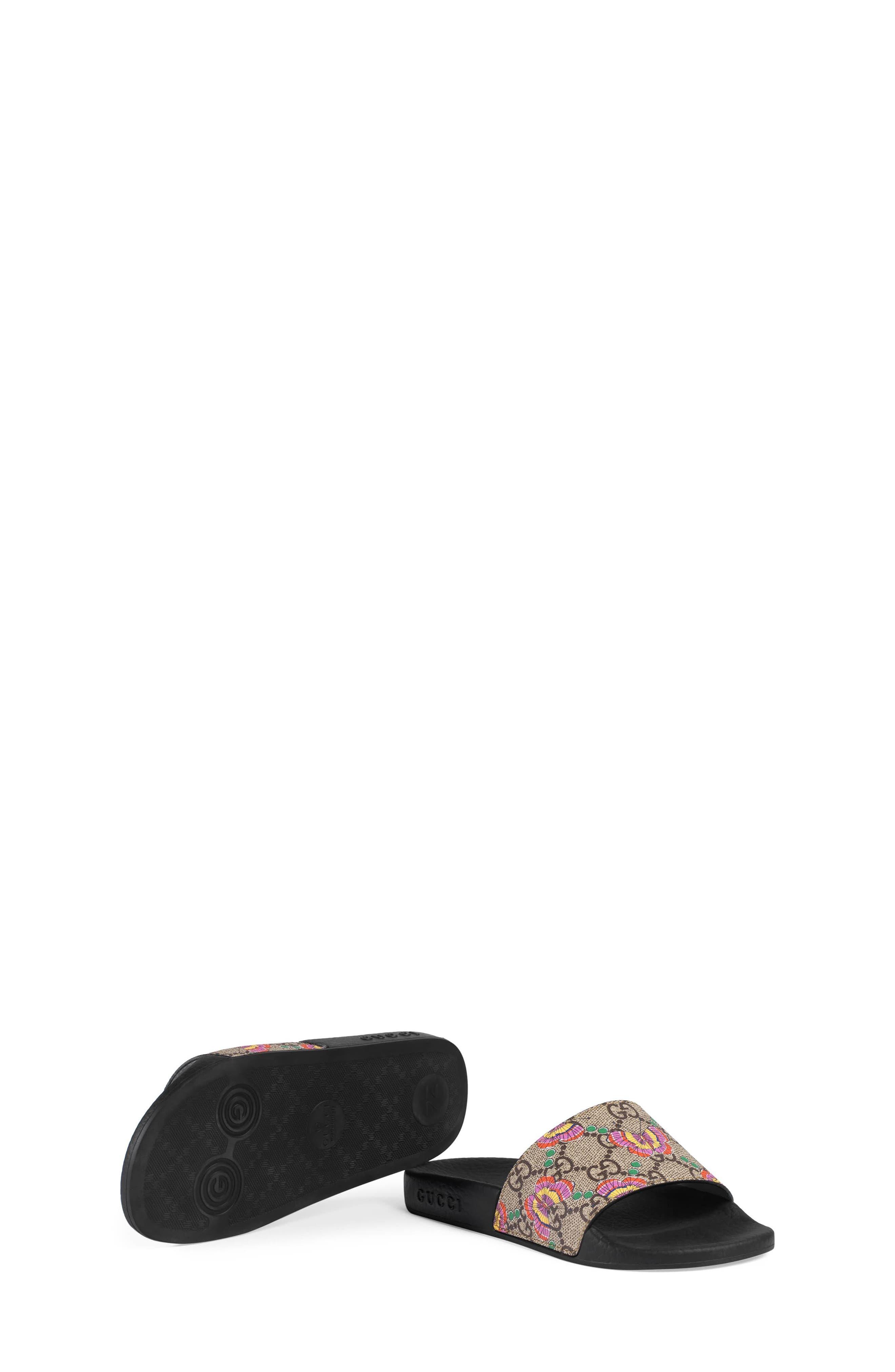 GG Supreme Butterfly Slide Sandal,                             Alternate thumbnail 5, color,                             Beige/ Pink Multi