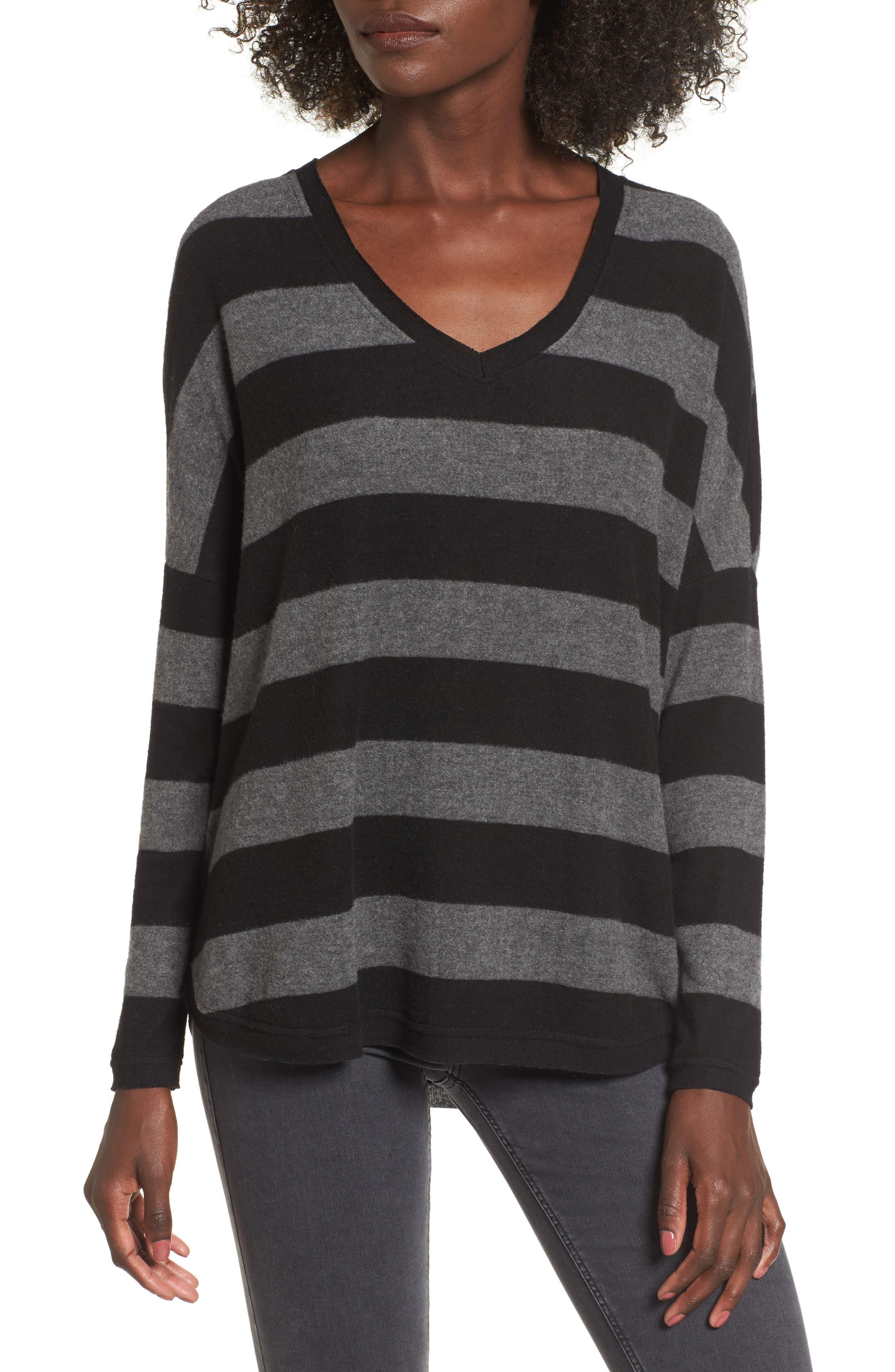 Stripe Cozy Tee,                             Main thumbnail 1, color,                             H. Charcoal/ Black