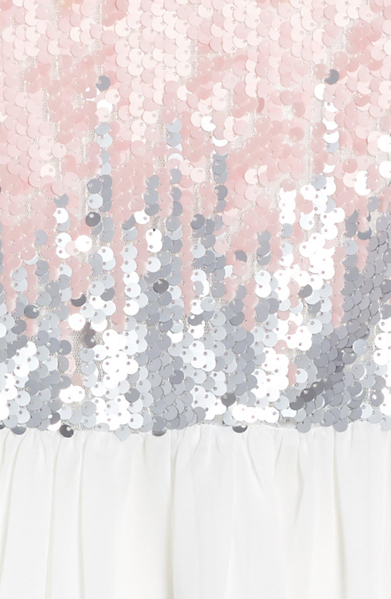 Sequin Bodice Dress,                             Alternate thumbnail 3, color,                             Ivory