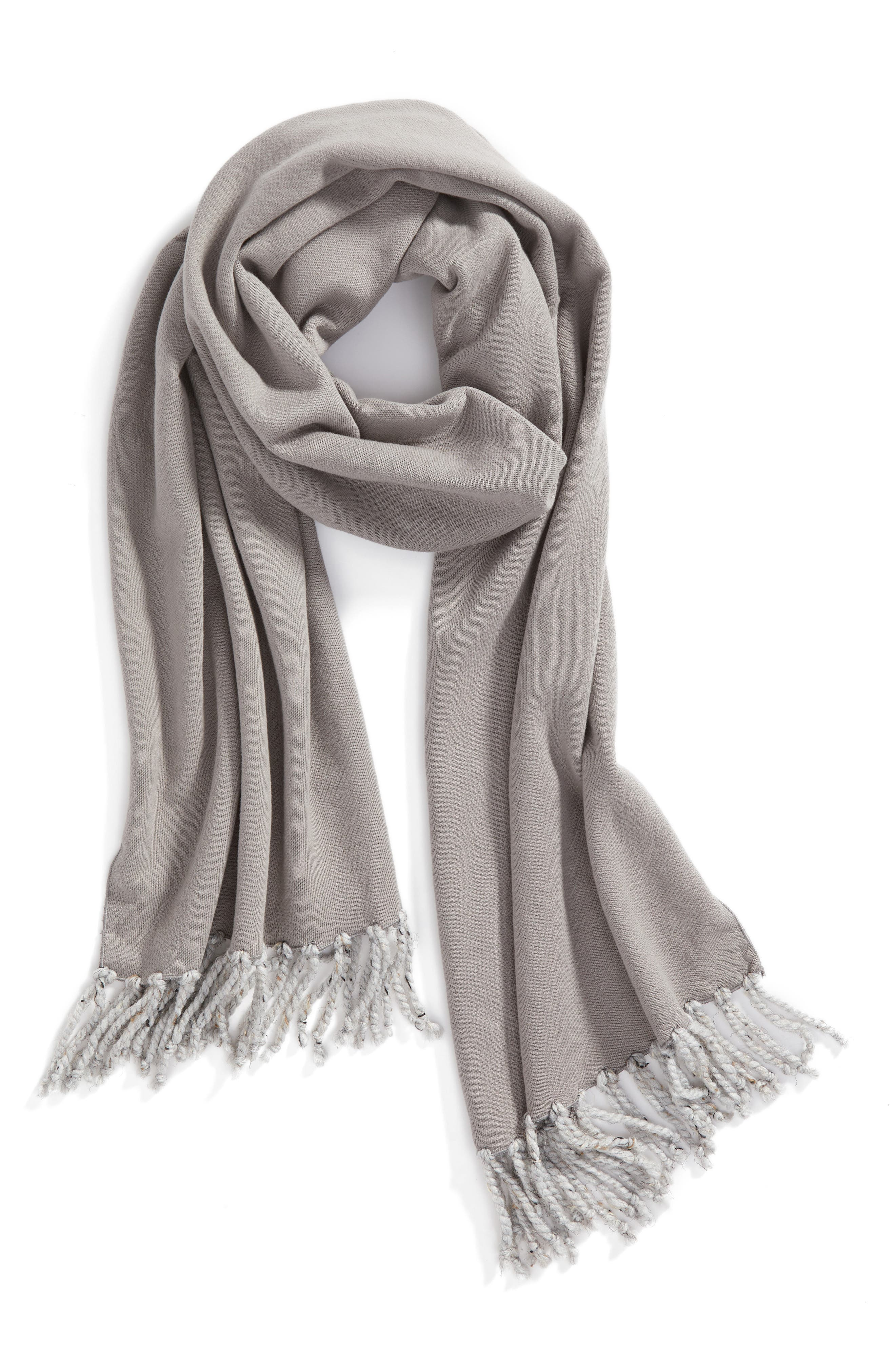 Poodle French Terry Scarf,                             Alternate thumbnail 2, color,                             Heather Grey