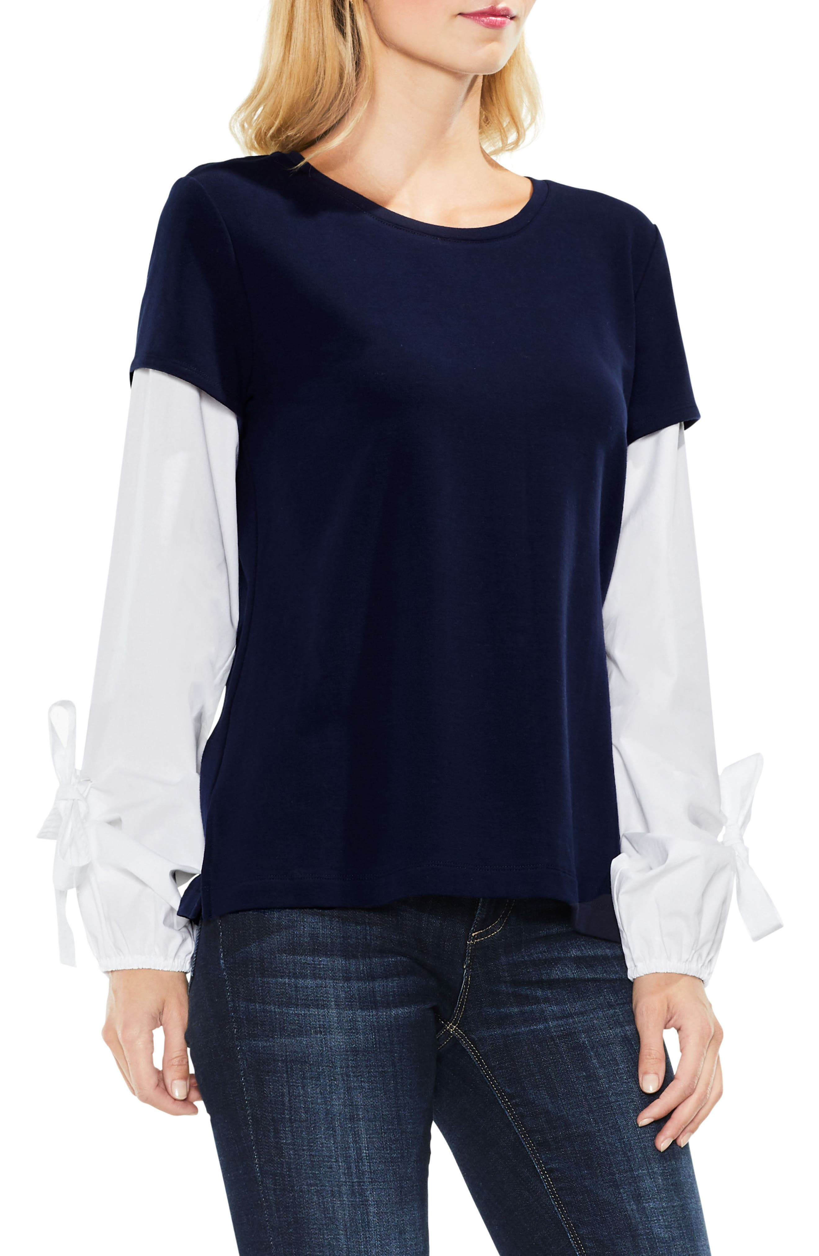 Alternate Image 1 Selected - Two by Vince Camuto Bubble Sleeve Mix Media Top (Regular & Petite)