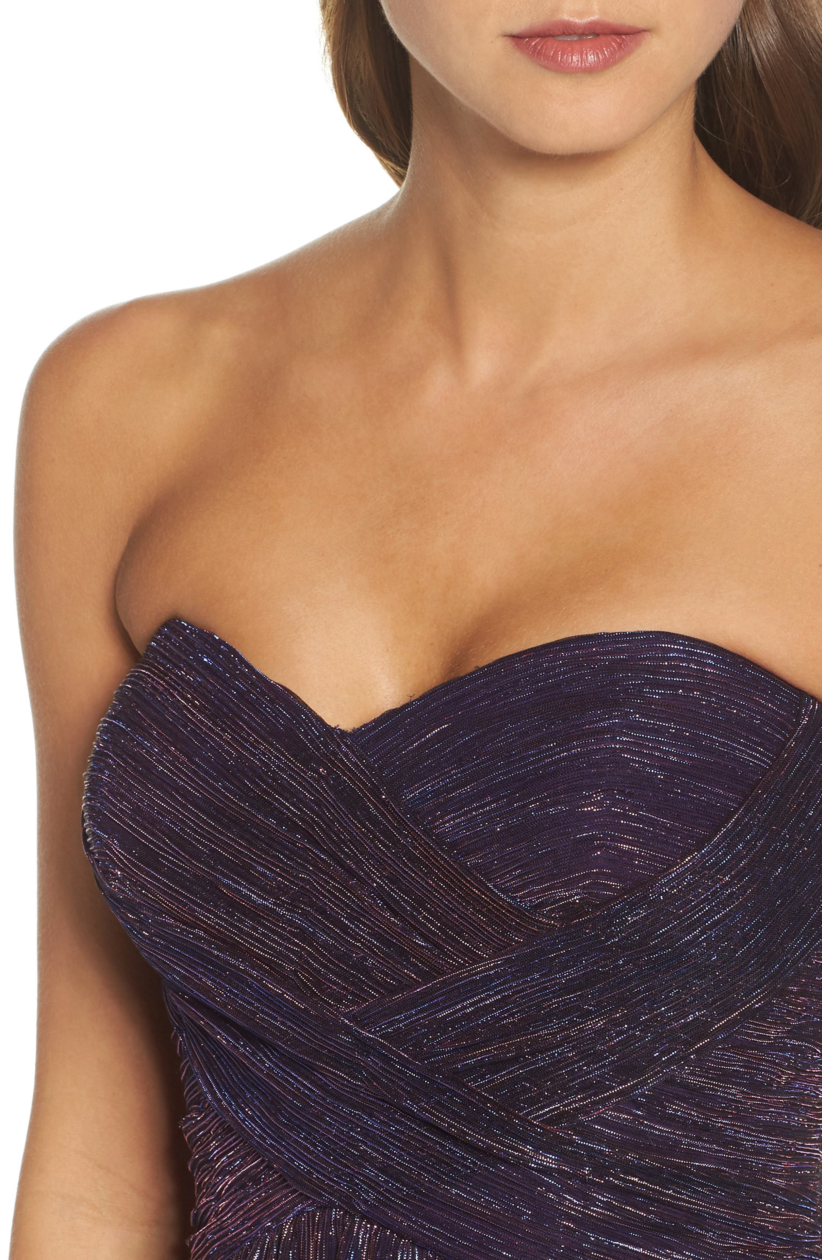 Metallic Strapless A-Line Gown,                             Alternate thumbnail 5, color,                             Purple/ Multi