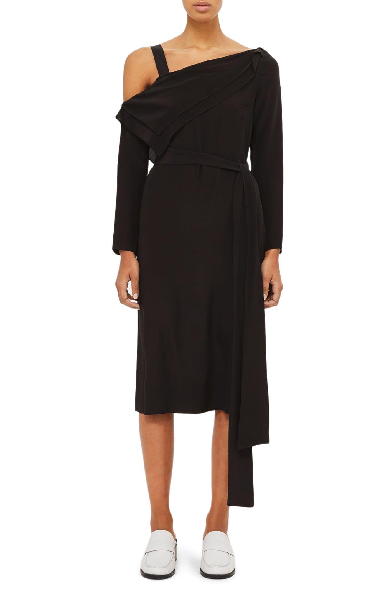 Off the Shoulder Silk Drape Dress,                             Main thumbnail 1, color,                             Black