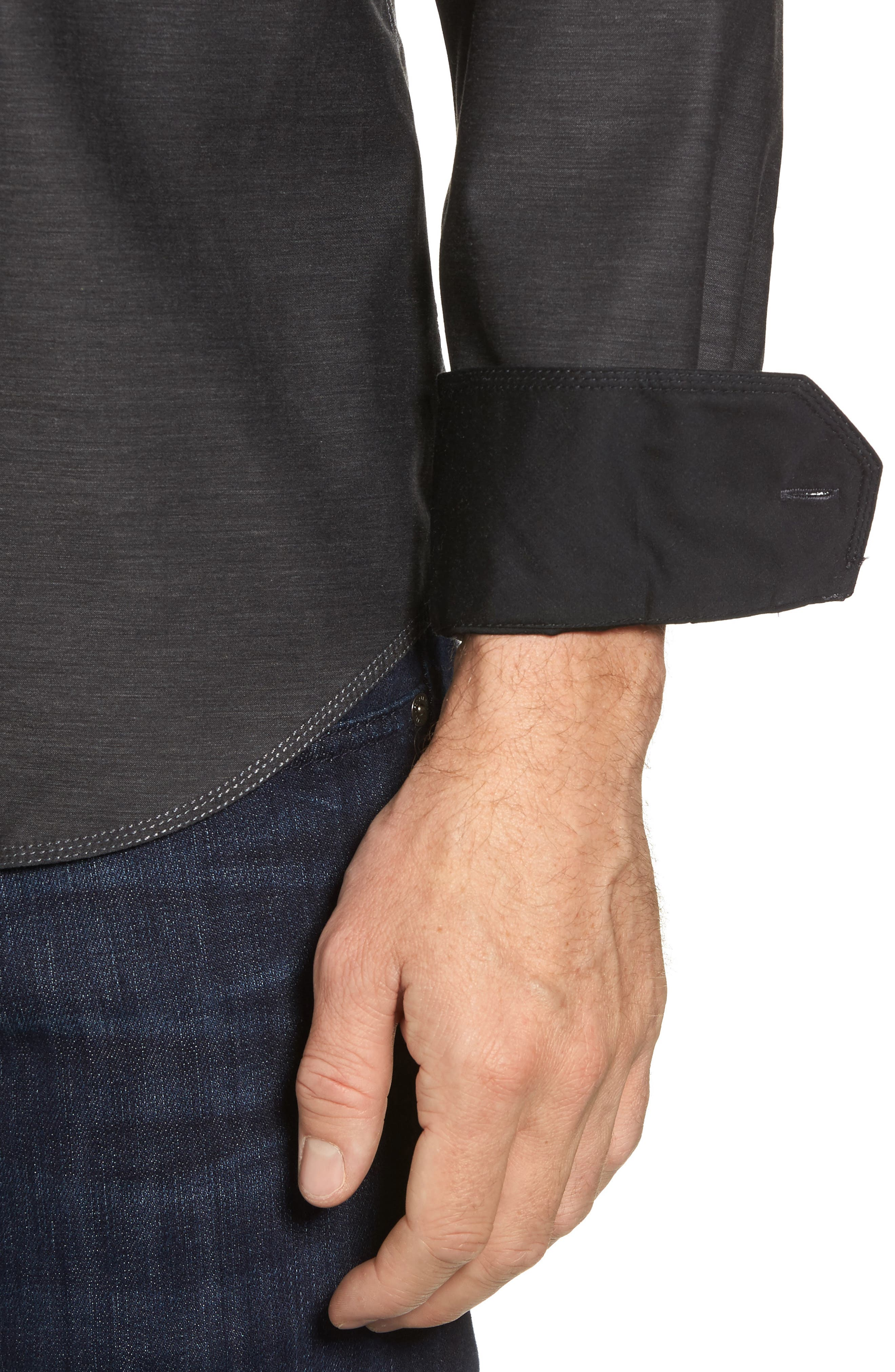 Trim Fit Heathered Sport Shirt,                             Alternate thumbnail 2, color,                             Charcoal