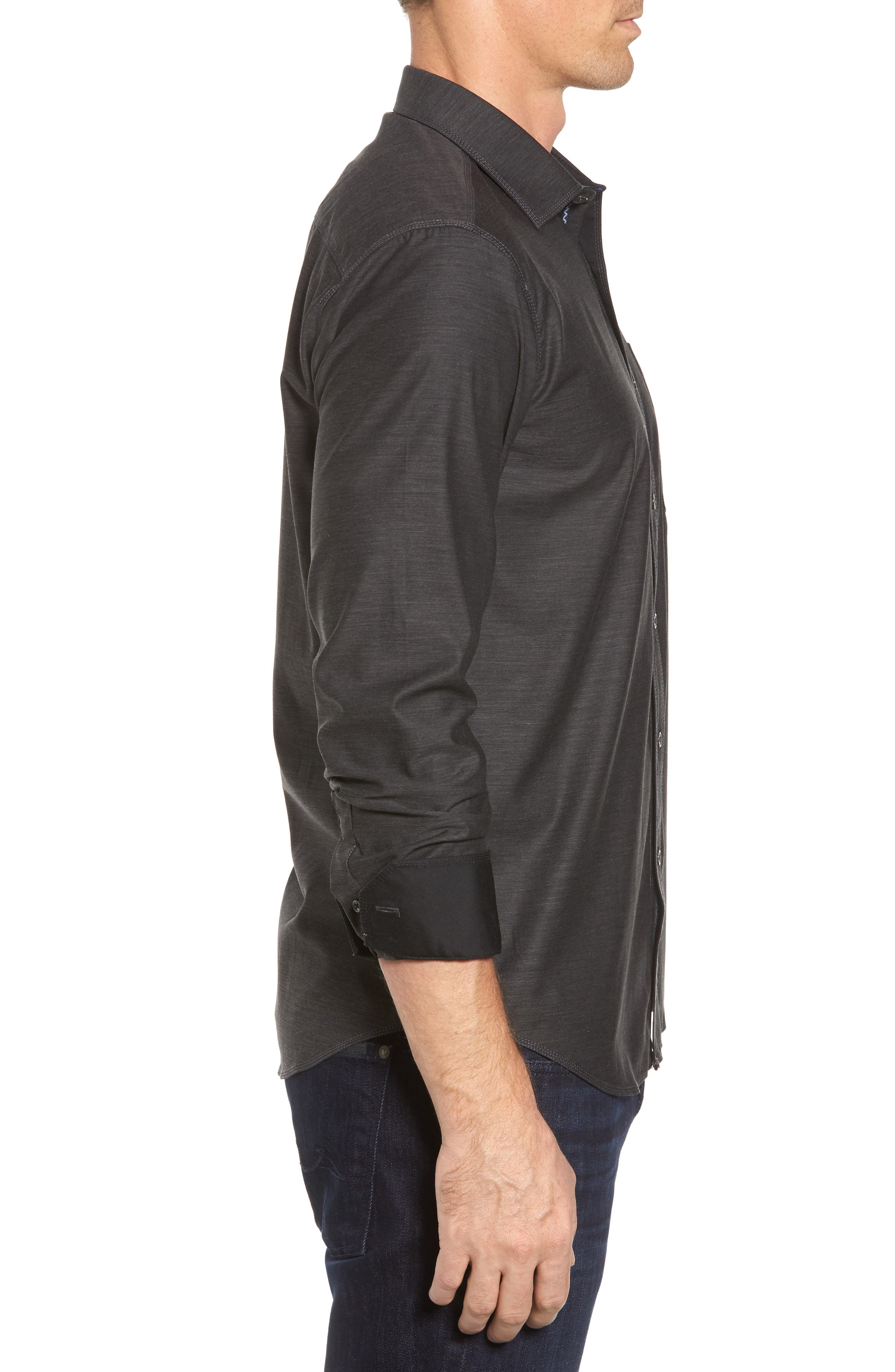 Trim Fit Heathered Sport Shirt,                             Alternate thumbnail 4, color,                             Charcoal