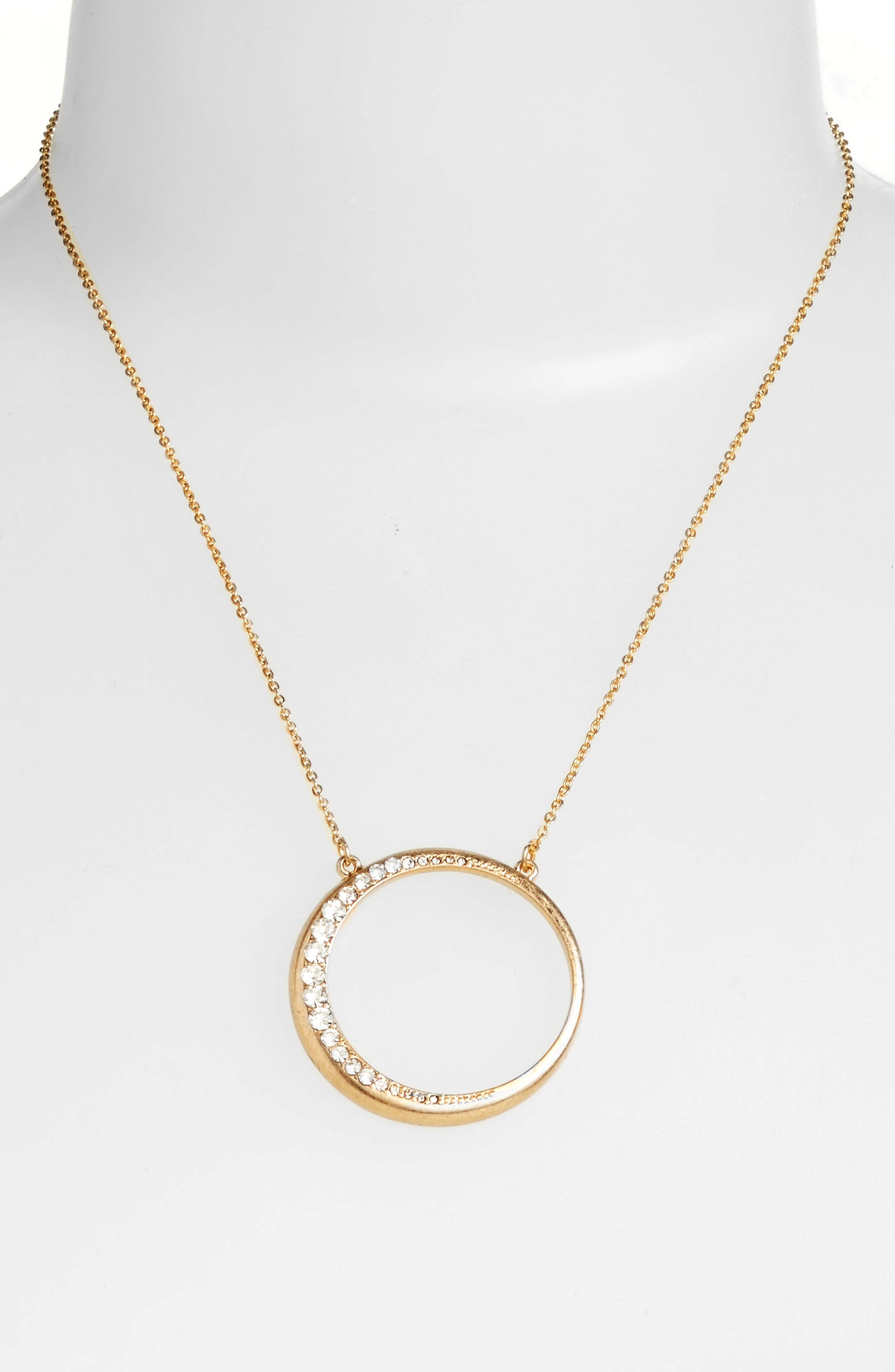 Open Circle Pendant Necklace,                             Alternate thumbnail 2, color,                             Clear- Gold