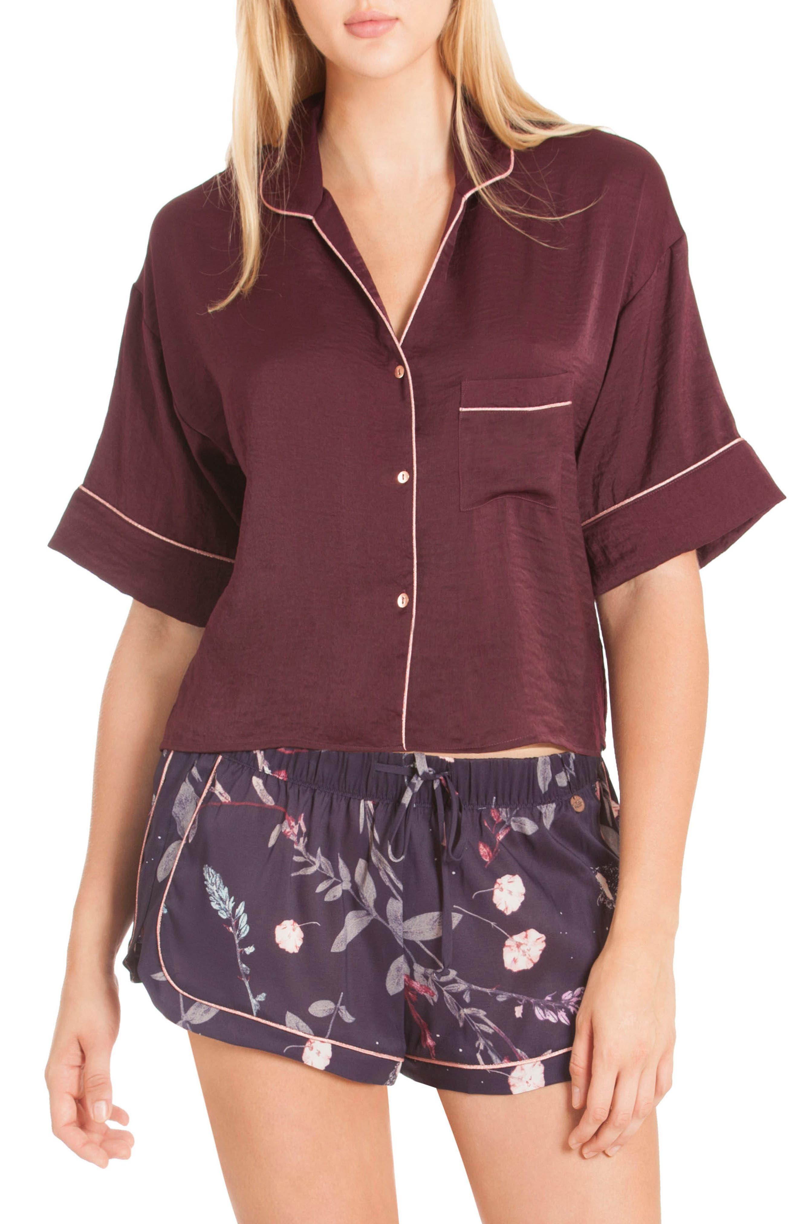 Crop Satin Pajama Top,                             Alternate thumbnail 3, color,                             Scarlet