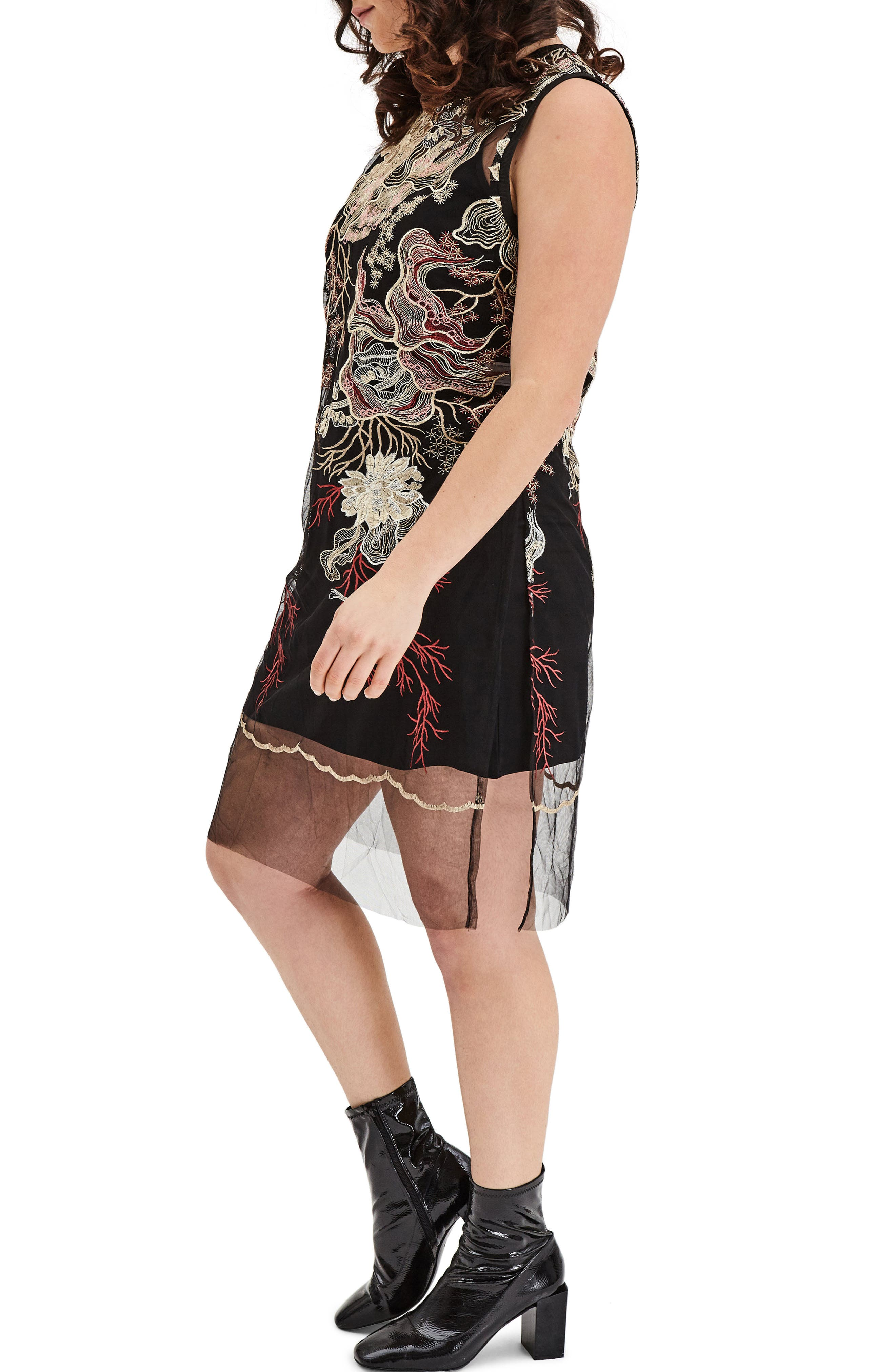 Embroidered Mesh Tunic Dress,                             Alternate thumbnail 3, color,                             Multi