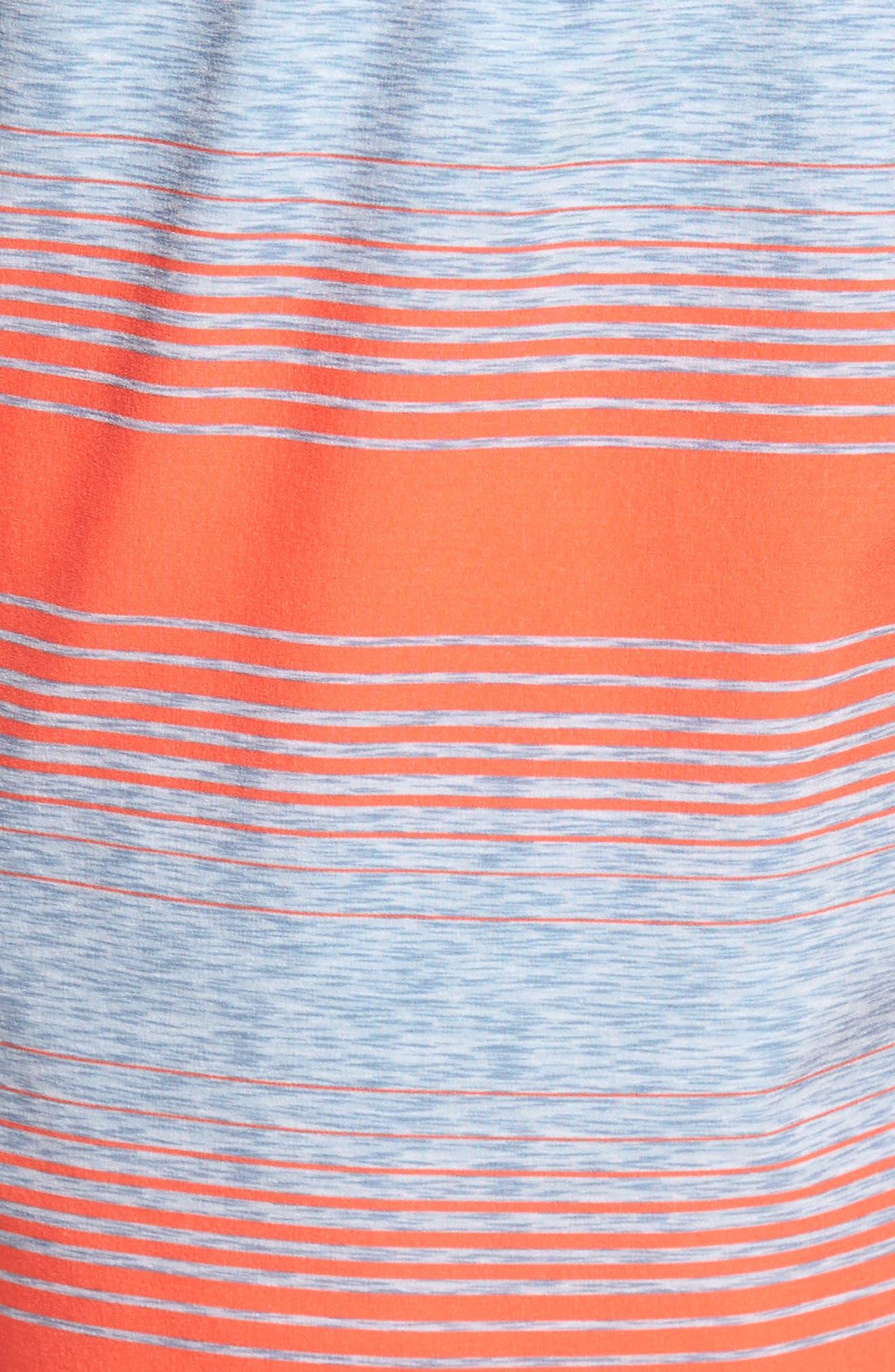 Stripe Swim Trunks,                             Alternate thumbnail 5, color,                             Hot Coral