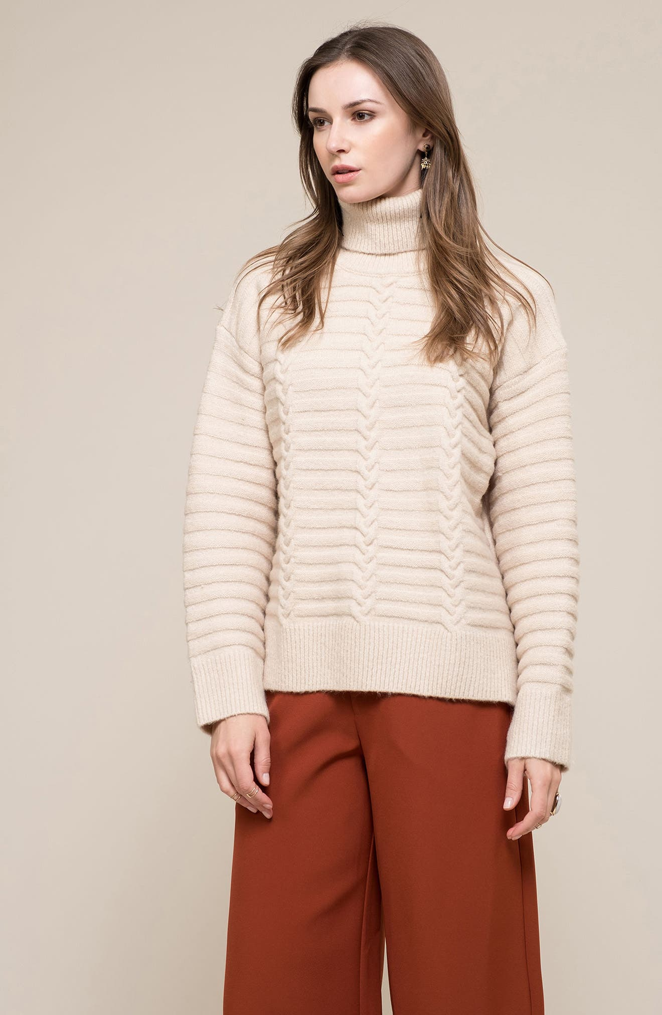 Turtleneck Sweater,                             Alternate thumbnail 7, color,                             Ivory