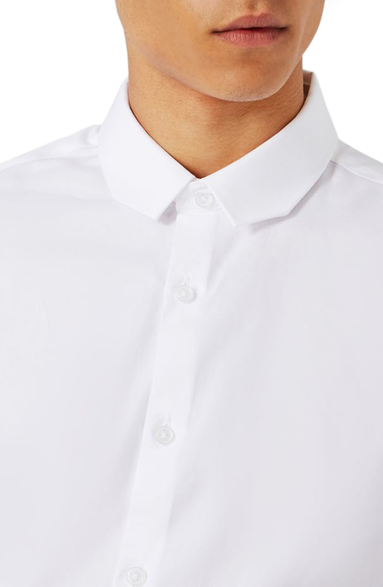 Trim Fit Chisel Collar Dress Shirt,                             Alternate thumbnail 4, color,                             White
