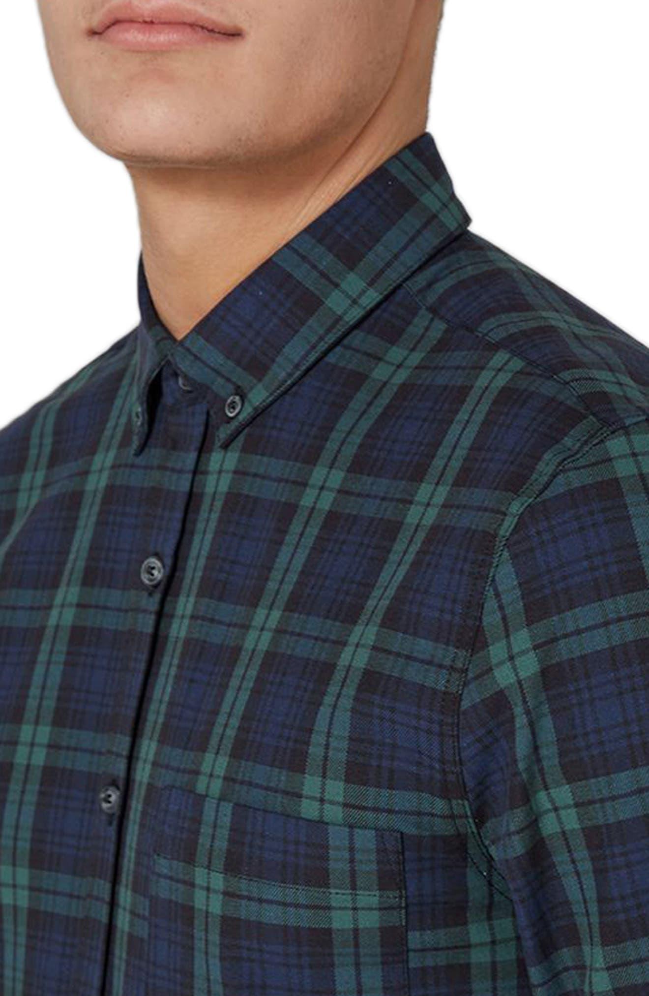 Muscle Fit Black Watch Plaid Shirt,                             Alternate thumbnail 3, color,                             Green Multi