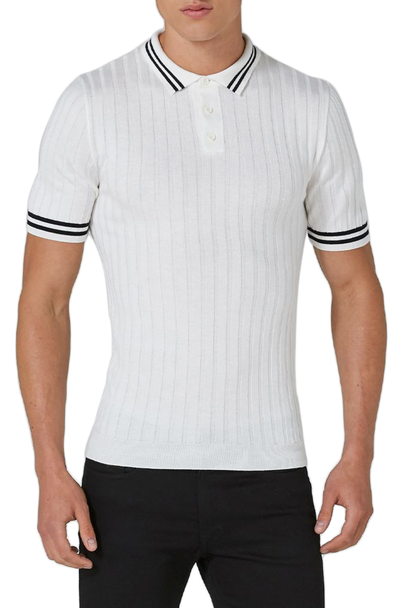 Topman Muscle Fit Rib Knit Polo