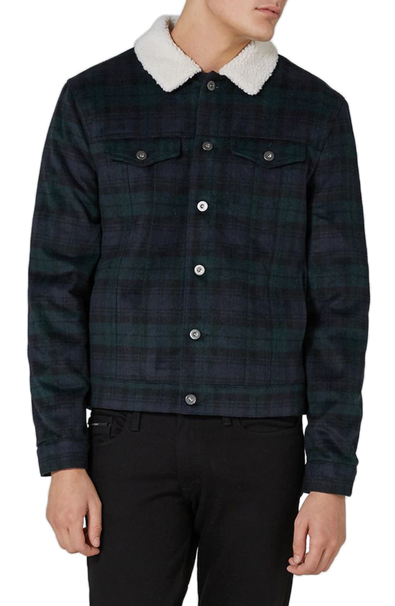 Borg Collar Black Watch Plaid Western Jacket,                         Main,                         color, Navy Multi