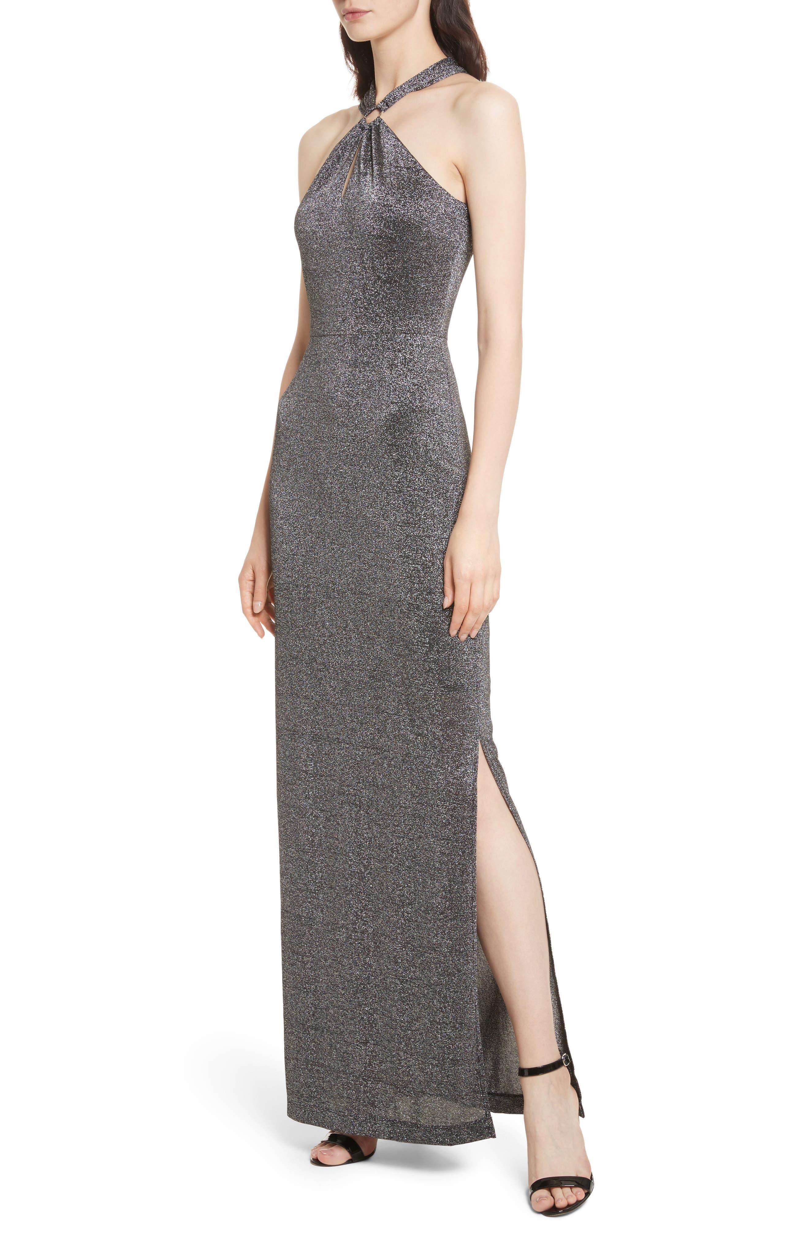 Metallic Knit Maxi Dress,                             Alternate thumbnail 4, color,                             Black