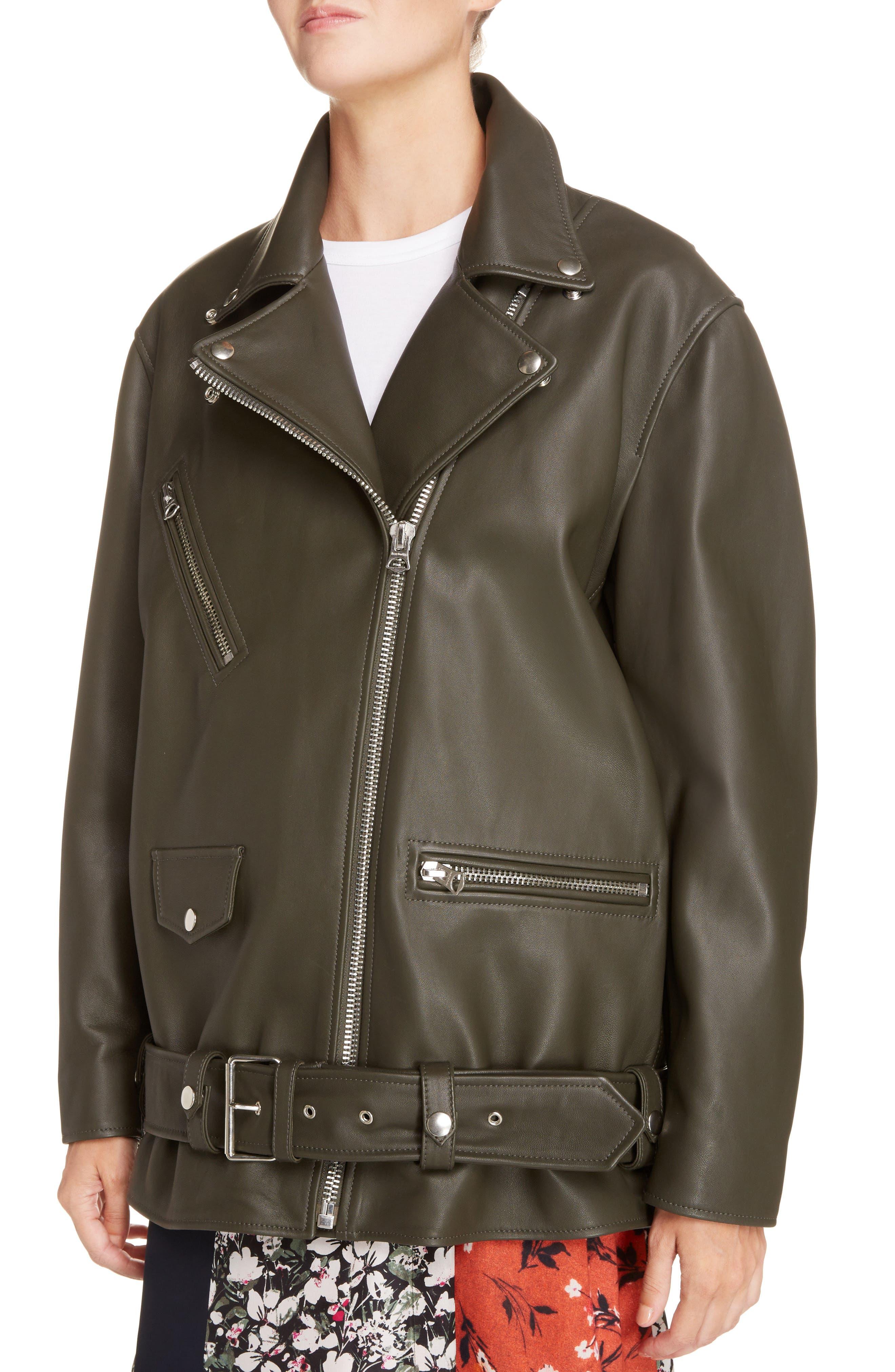 Myrtle Leather Jacket,                             Alternate thumbnail 3, color,                             Dark Khaki