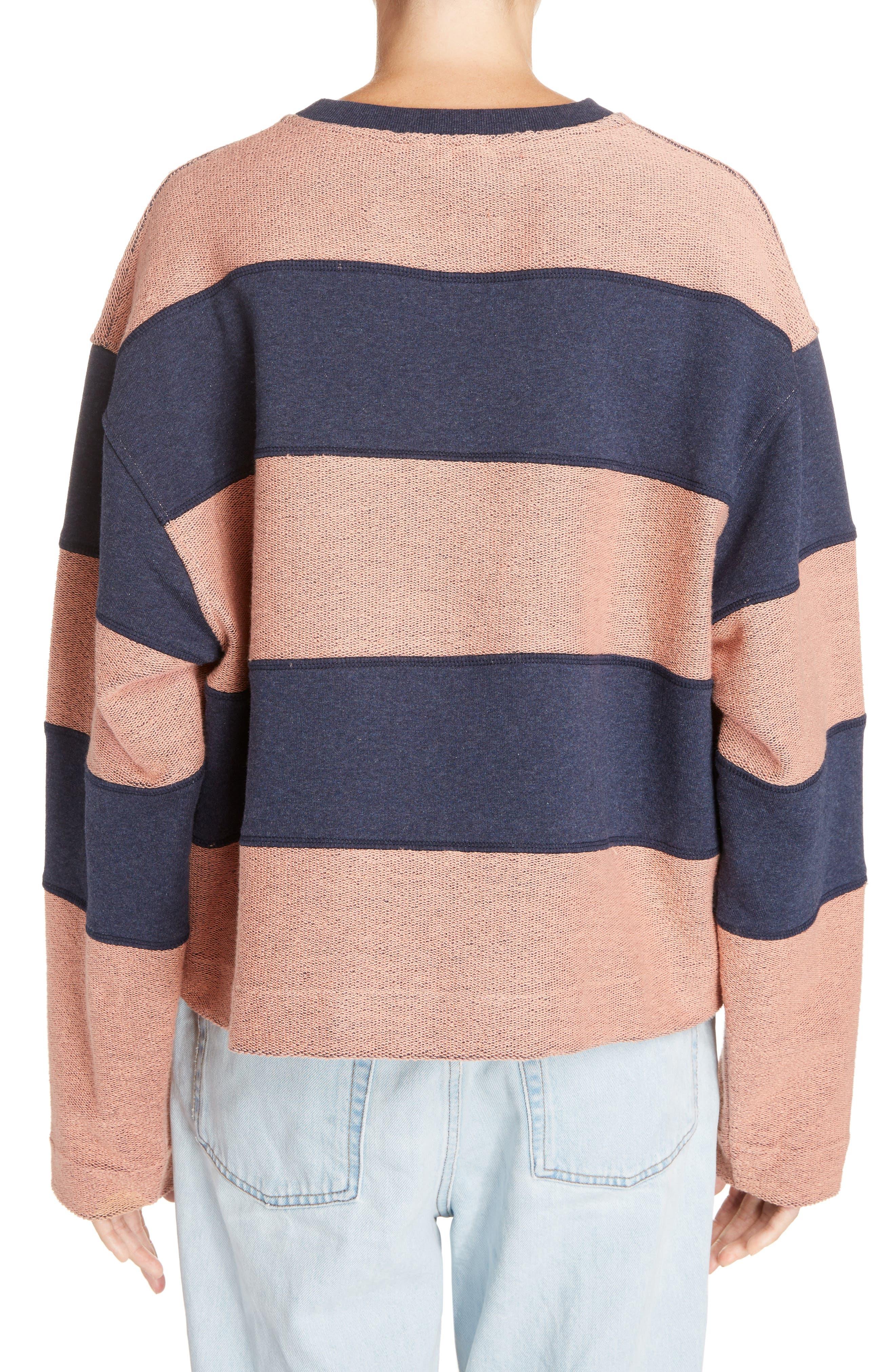 Diana Stripe Sweatshirt,                             Alternate thumbnail 2, color,                             Navy Melange/ Pink