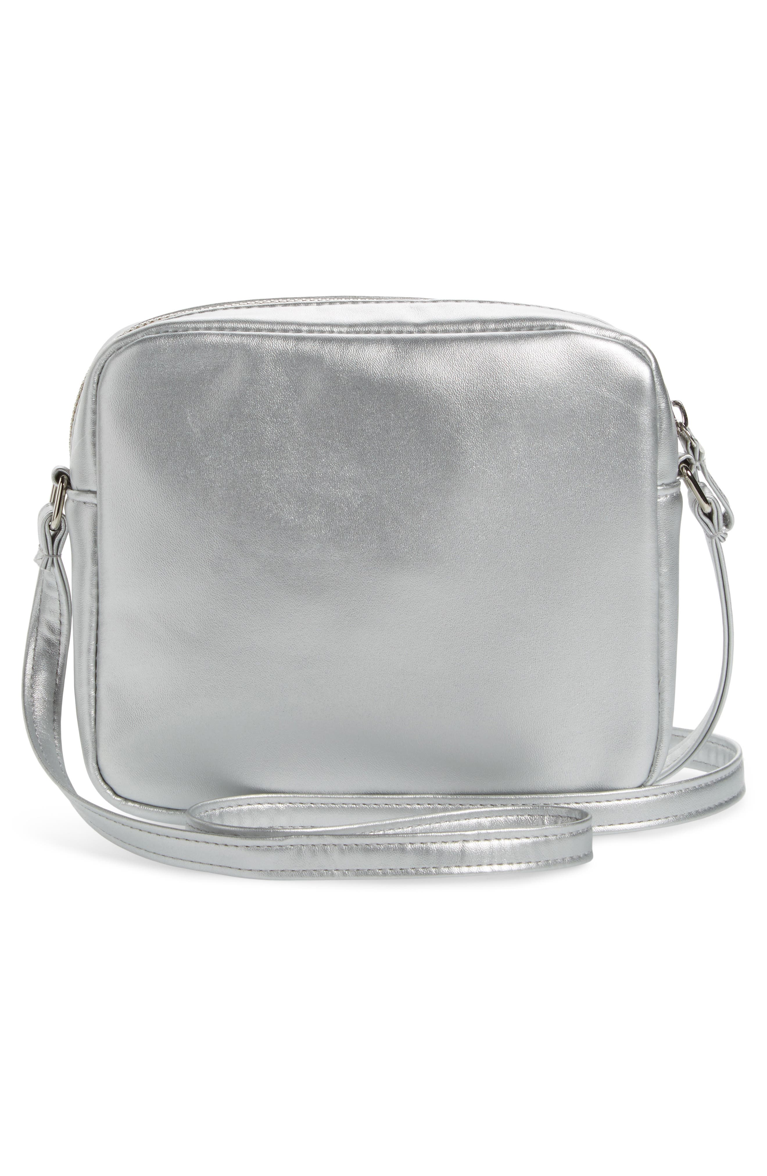 Capelli LED Light-Up Rainbow Faux Leather Crossbody Bag,                             Alternate thumbnail 2, color,                             Silver Combo