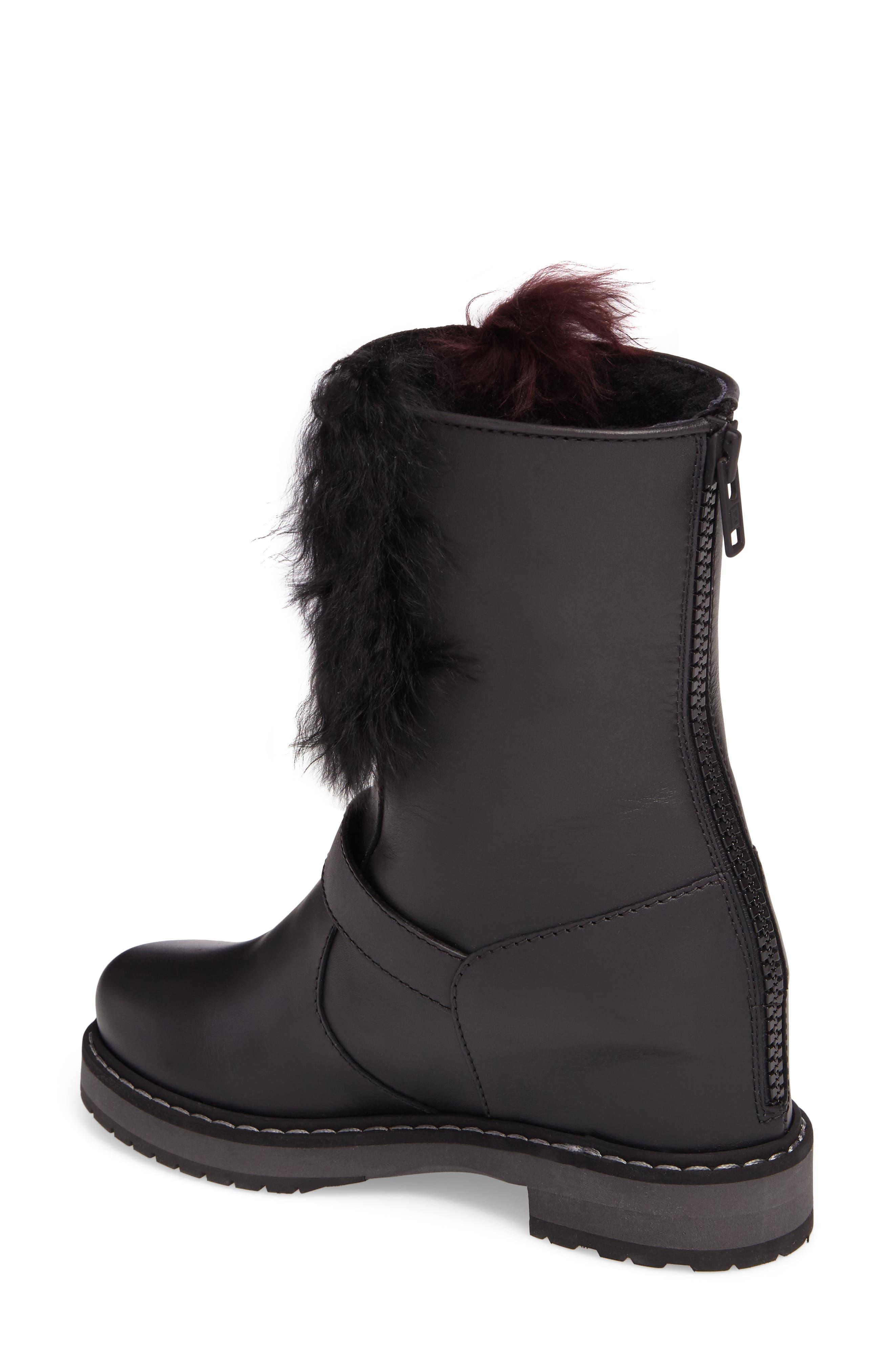 Caroline Genuine Alpaca Fur & Genuine Shearling Engineer Boot,                             Alternate thumbnail 2, color,                             Black/ Bordeaux