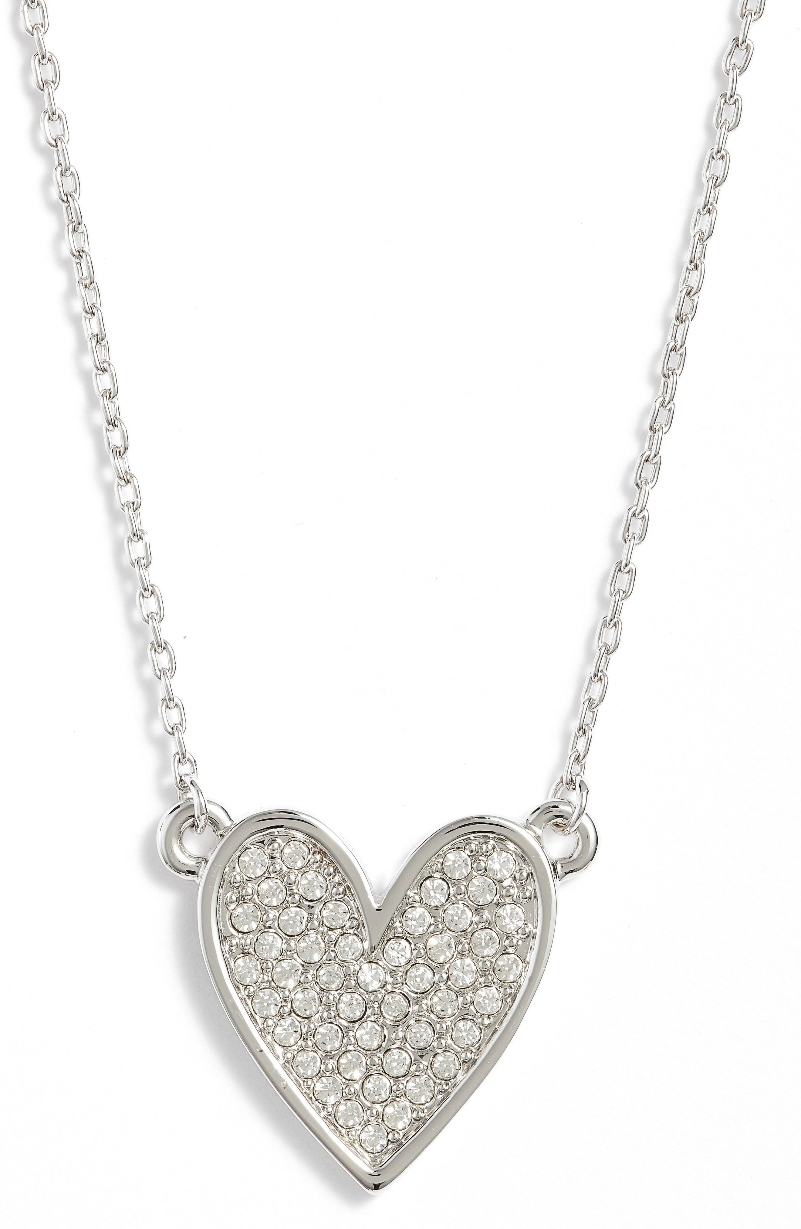 Pavé Heart Pendant Necklace,                             Main thumbnail 1, color,                             Silver