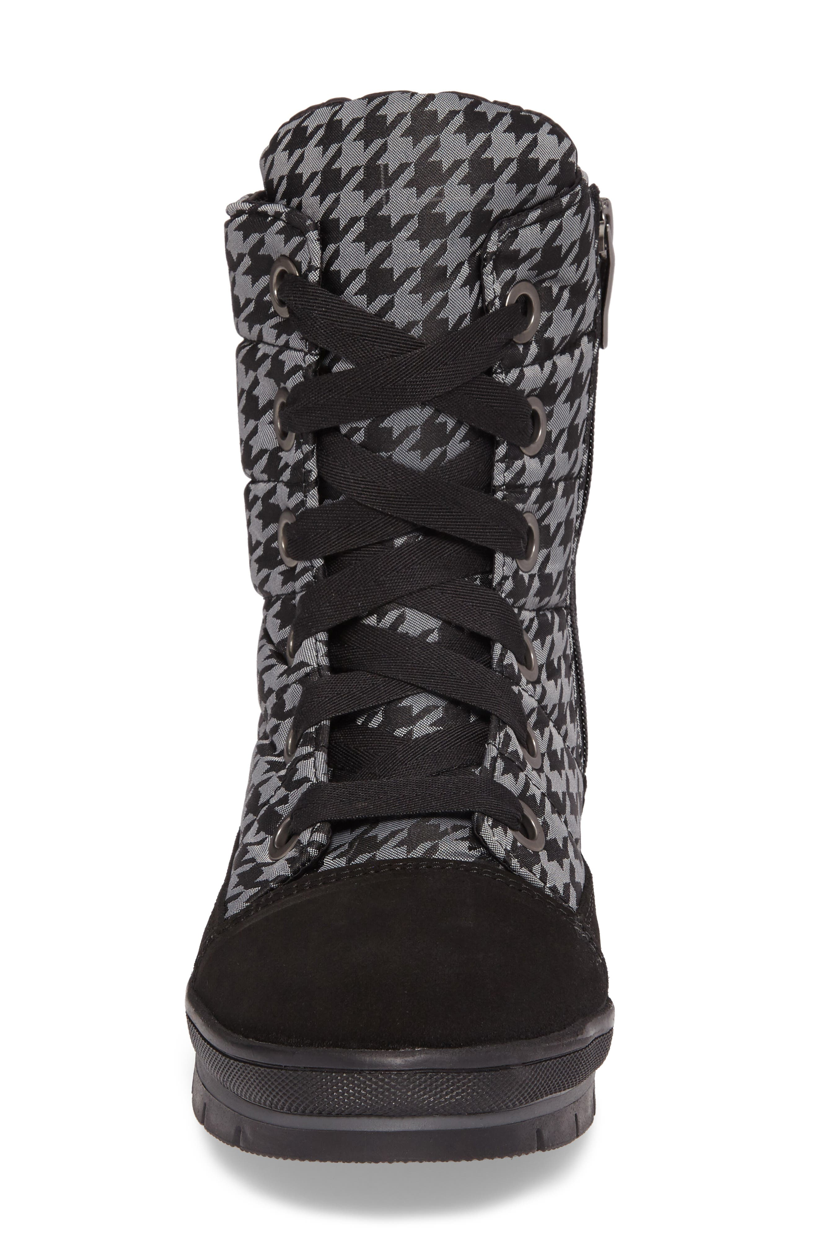 Meribel Waterproof Channel Quilted Lace Up Sneaker Boot,                             Alternate thumbnail 4, color,                             Black Pull Pied