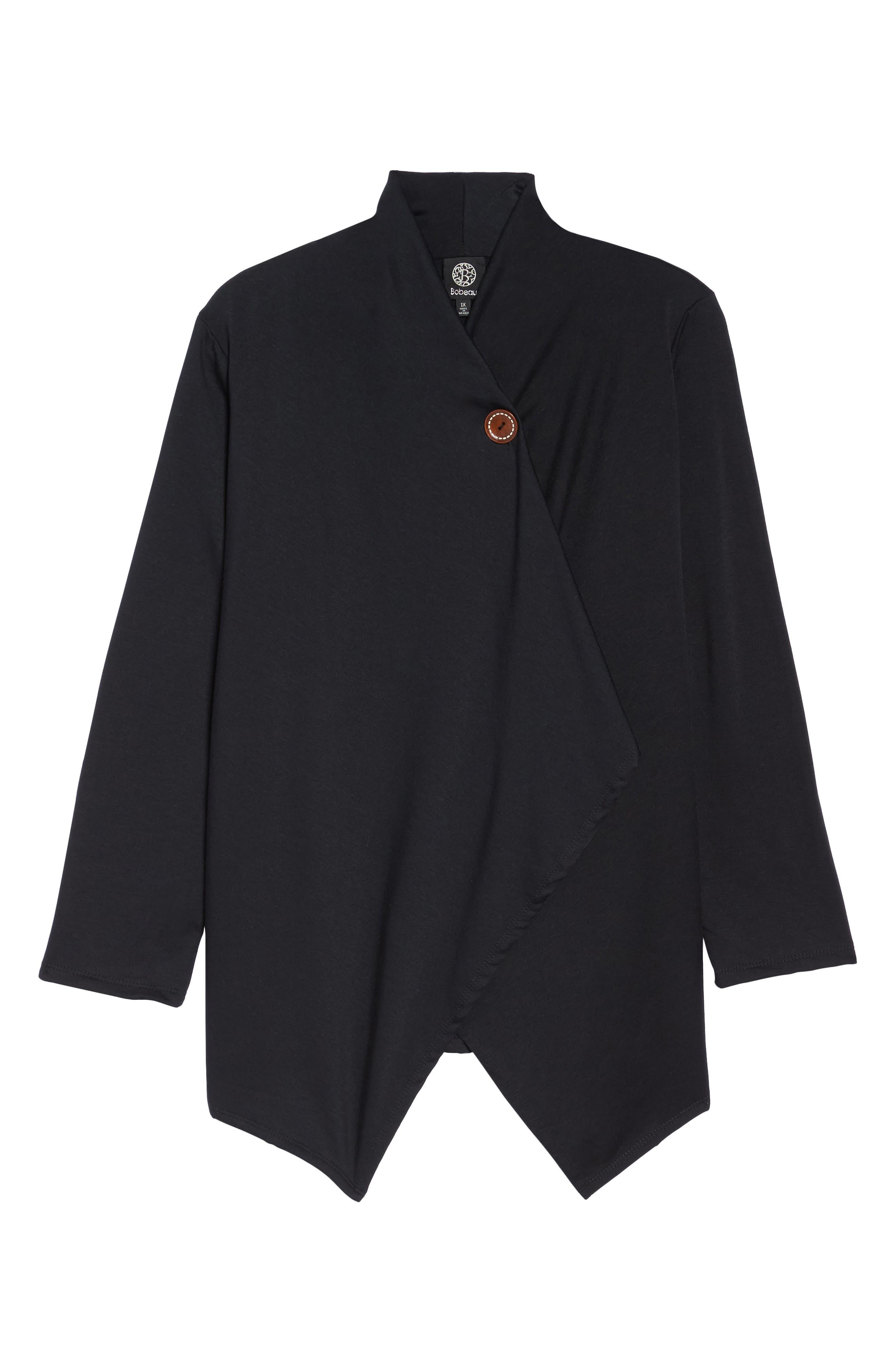 Bobeau One-Button Fleece Cardigan (Plus Size)